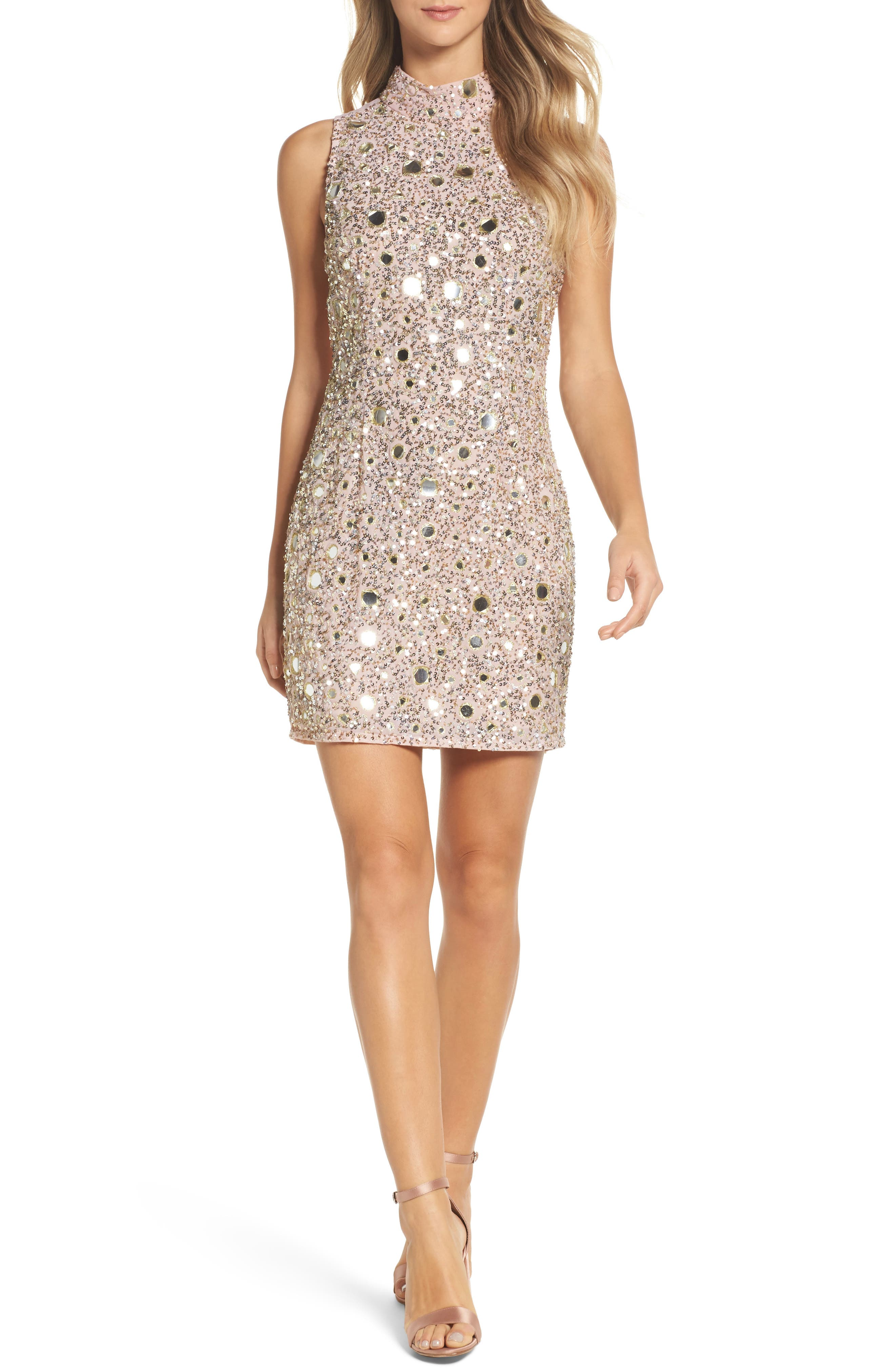 Eloise Mirrors Body-Con Dress,                         Main,                         color, Cinder Rose/ Gold