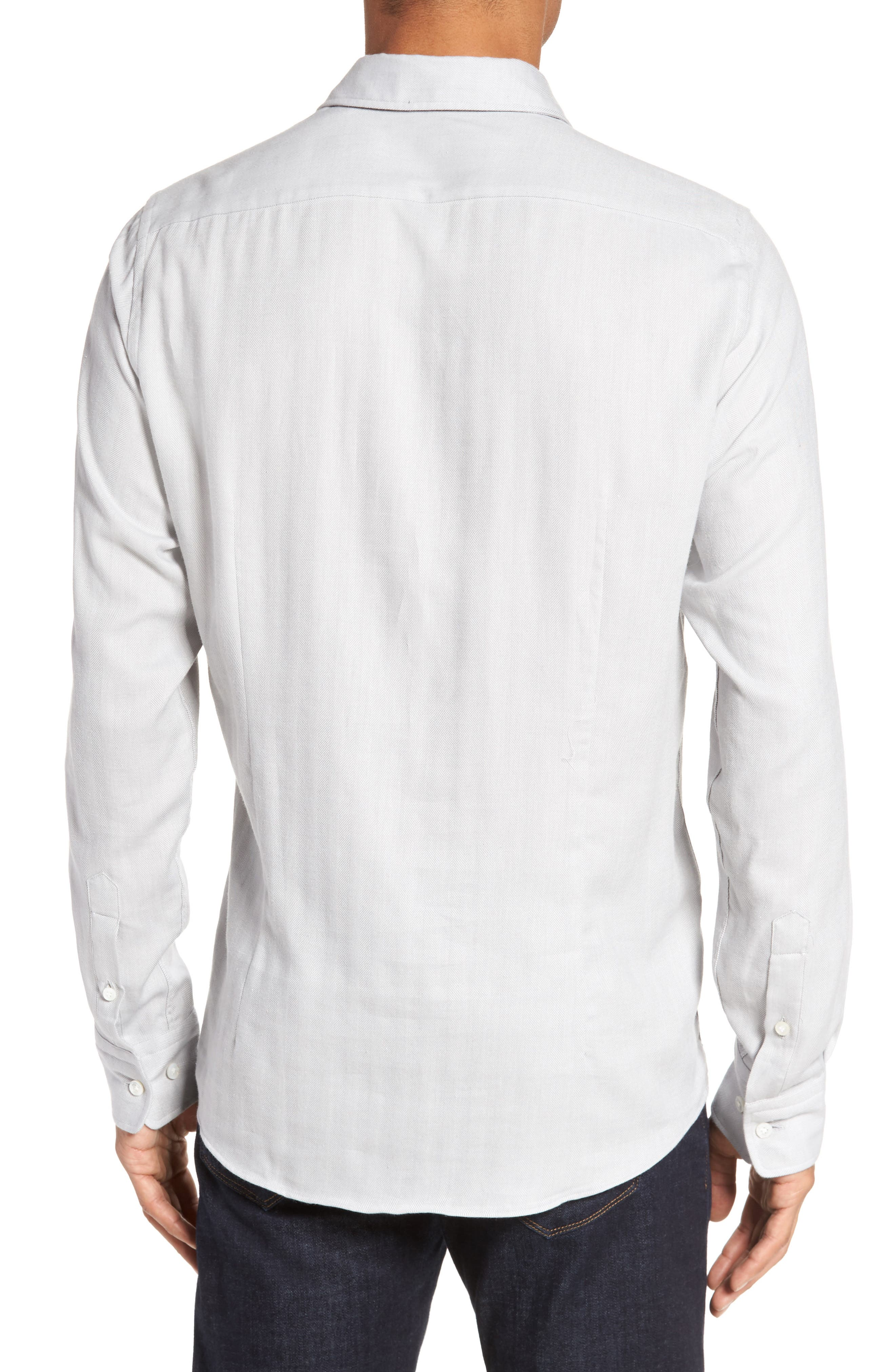 Landon Herringbone Shirt,                             Alternate thumbnail 2, color,                             Grey