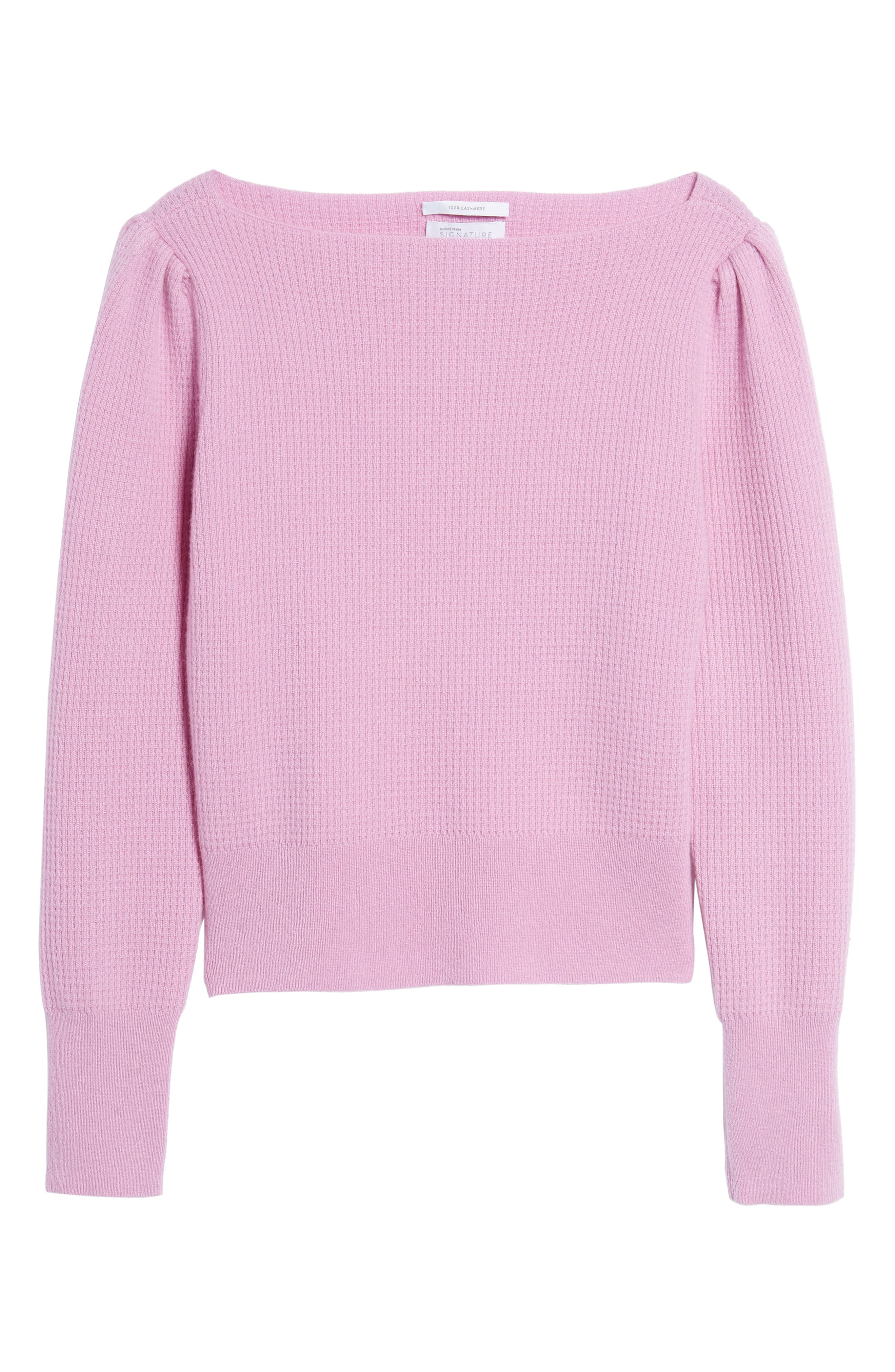 Waffle Stitch Cashmere Sweater,                             Alternate thumbnail 6, color,                             Pink Gale