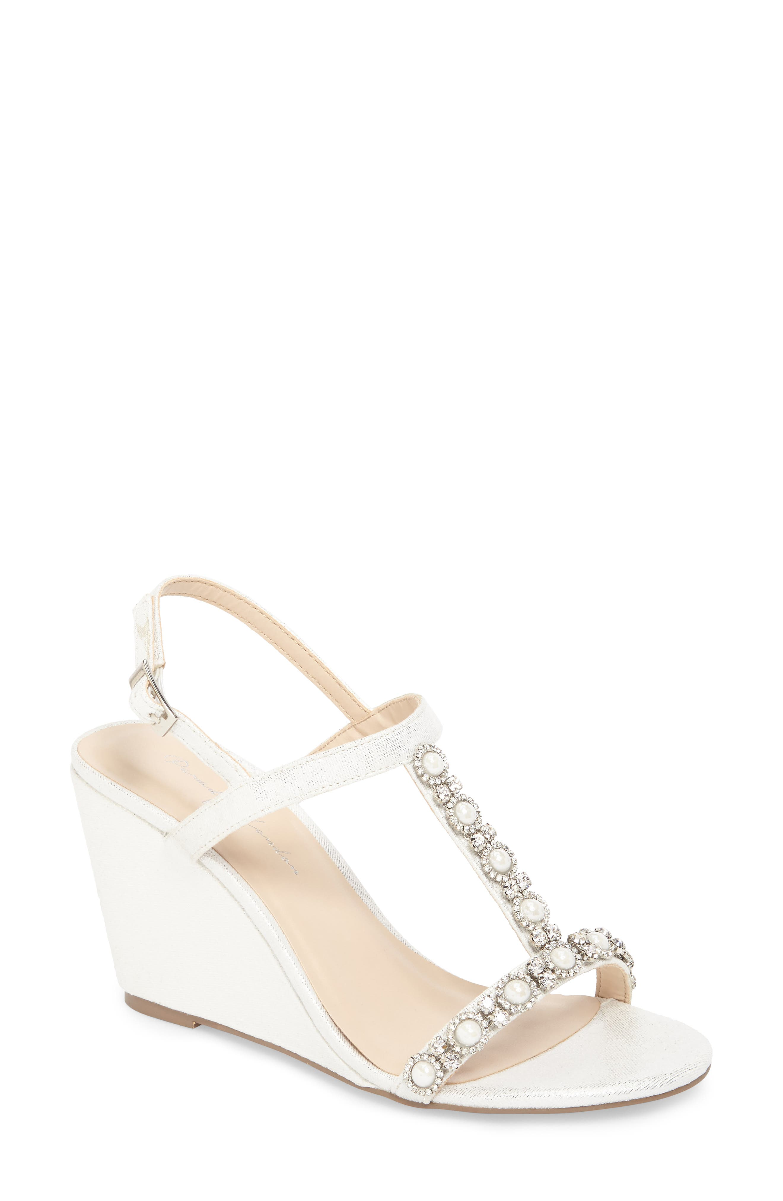 Kiana Embellished Wedge Sandal,                             Main thumbnail 1, color,                             Silver Glitter