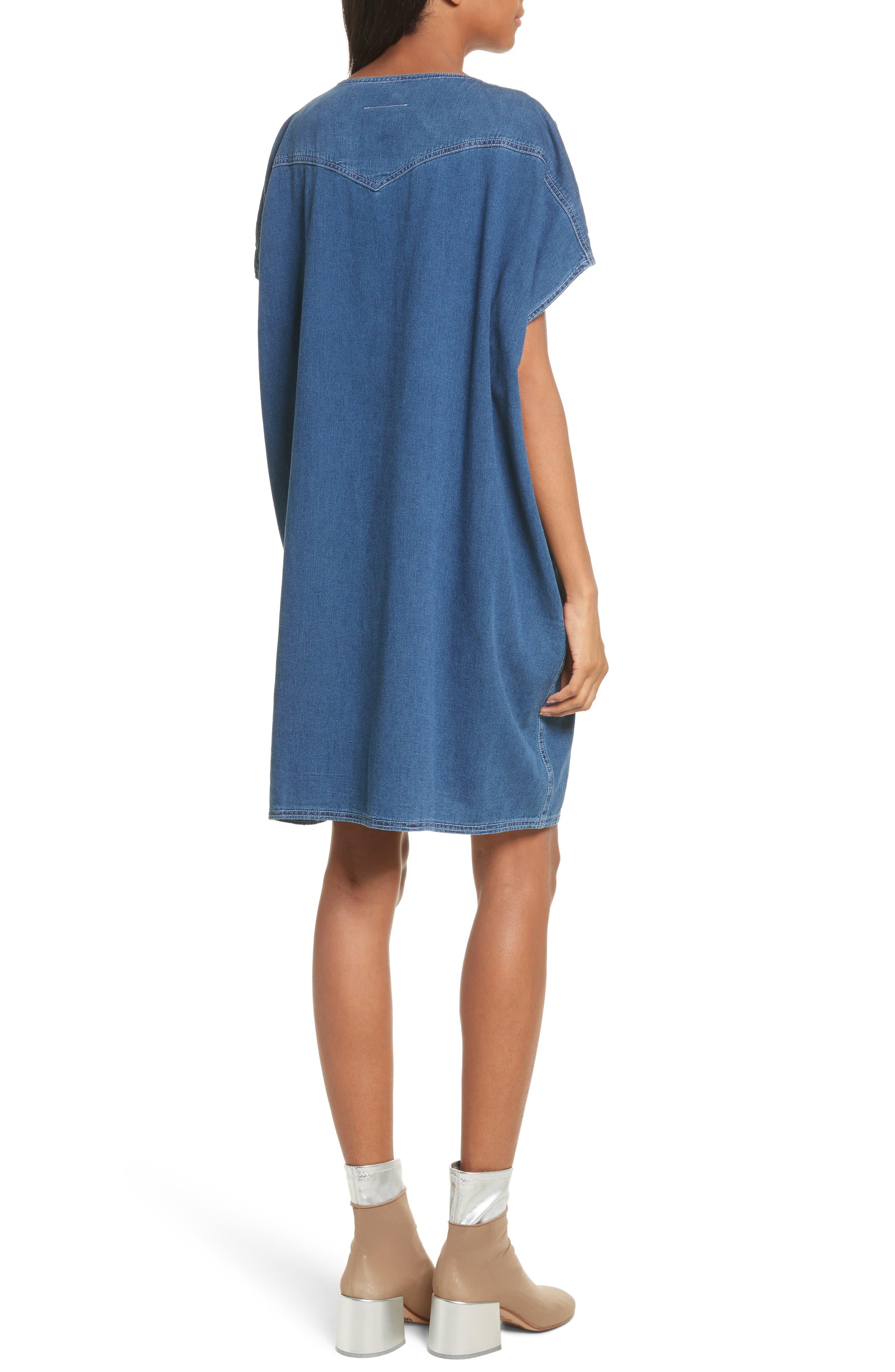 '80s Wash Denim Dress,                             Alternate thumbnail 2, color,                             Medium Blue