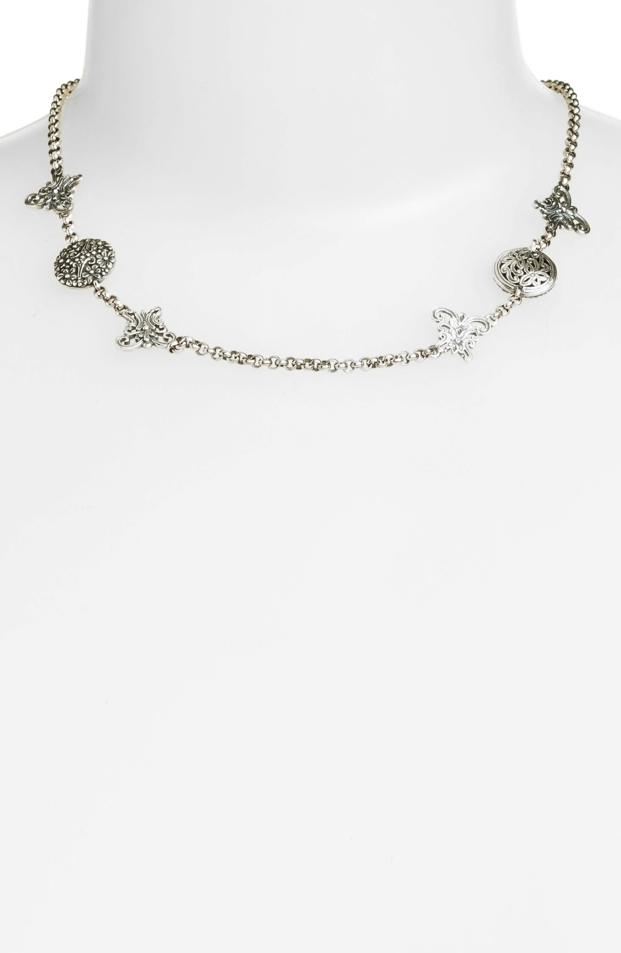 Santorini Butterfly Collar Necklace,                             Main thumbnail 1, color,                             Silver/ Hematite