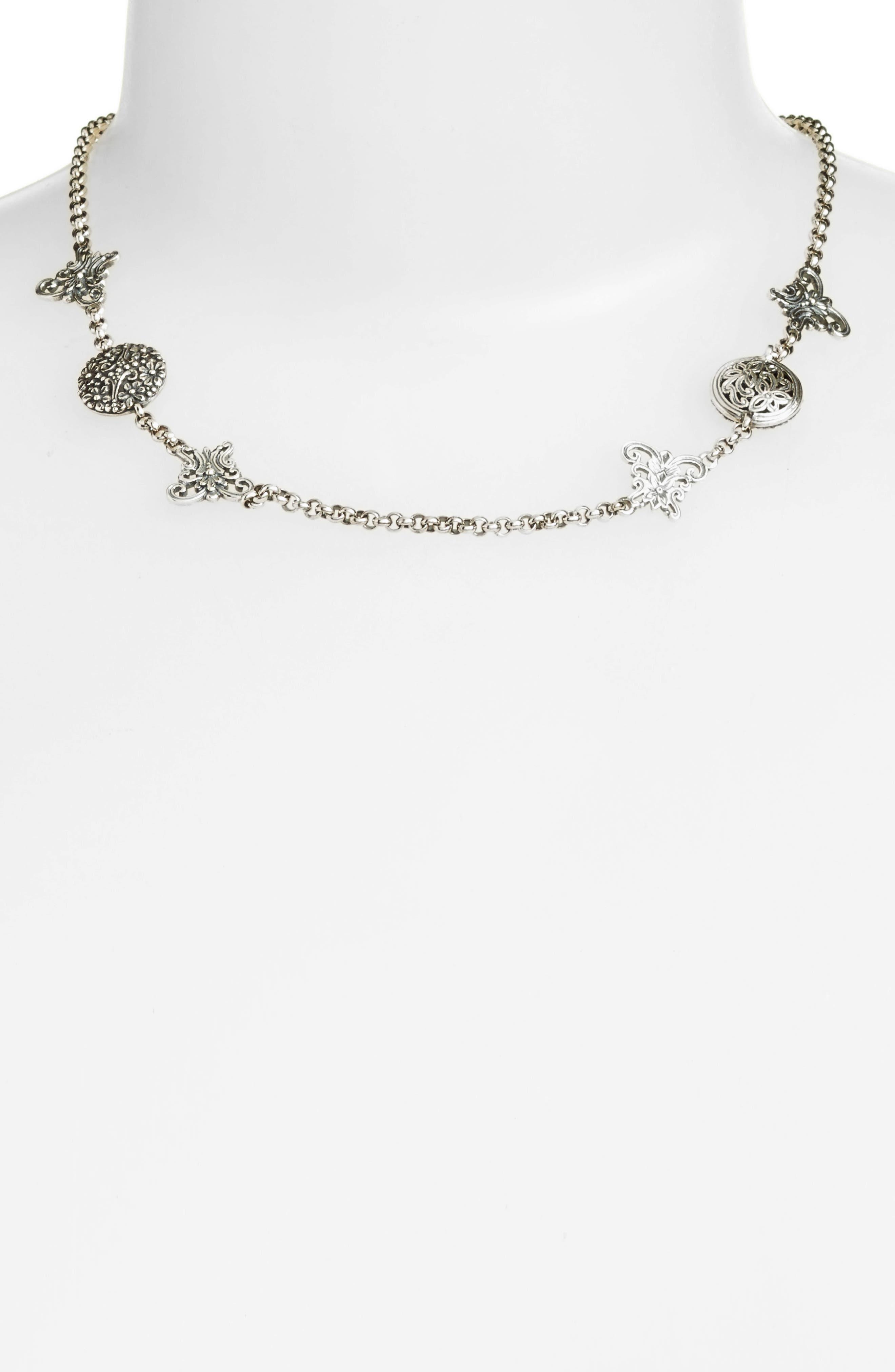 Santorini Butterfly Collar Necklace,                         Main,                         color, Silver/ Hematite