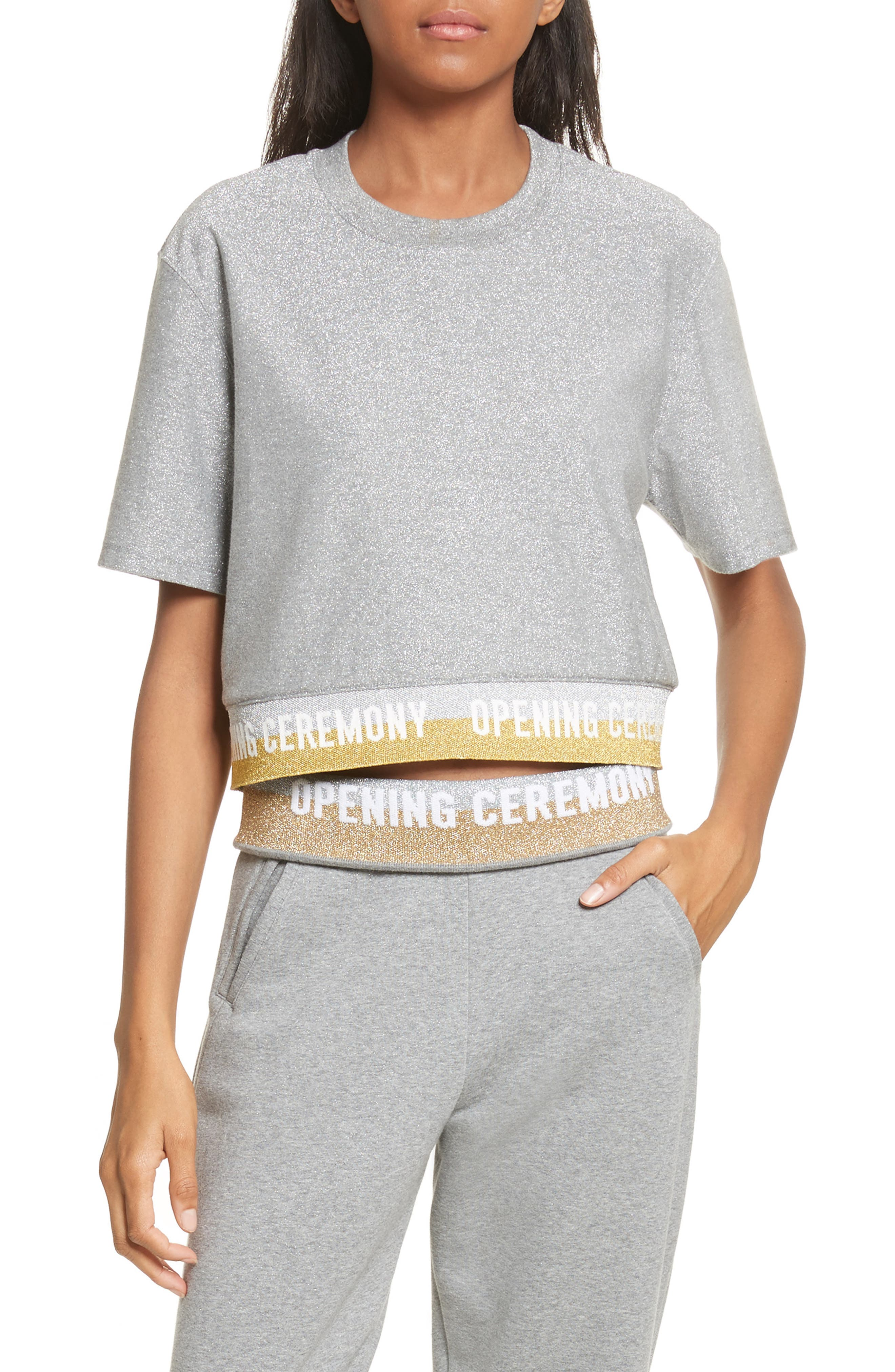 Alternate Image 1 Selected - Opening Ceremony Elastic Logo Crop Tee (Limited Edition)