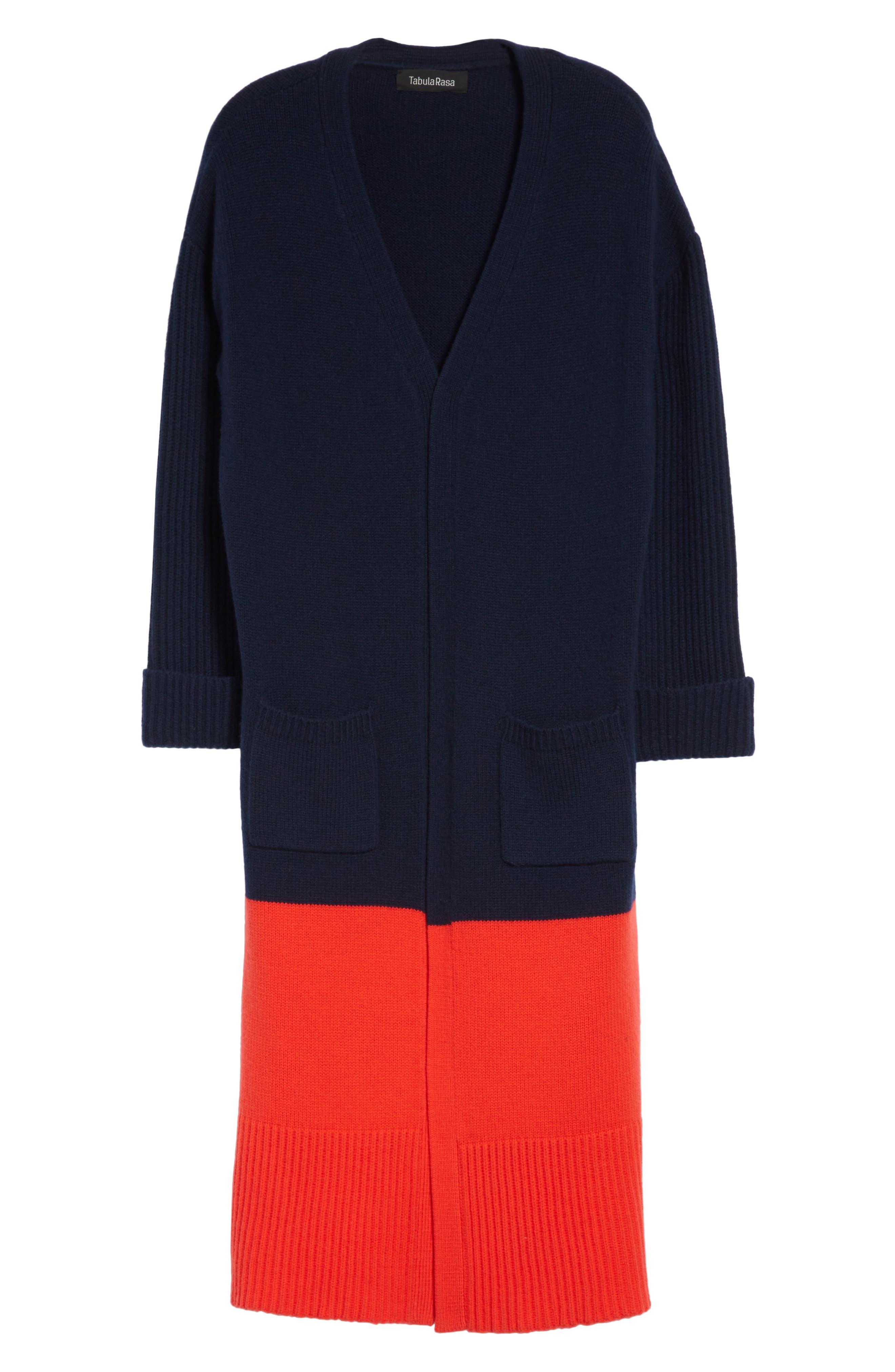 Babur Colorblock Long Wool Cardigan,                             Alternate thumbnail 6, color,                             Navy W/ Red