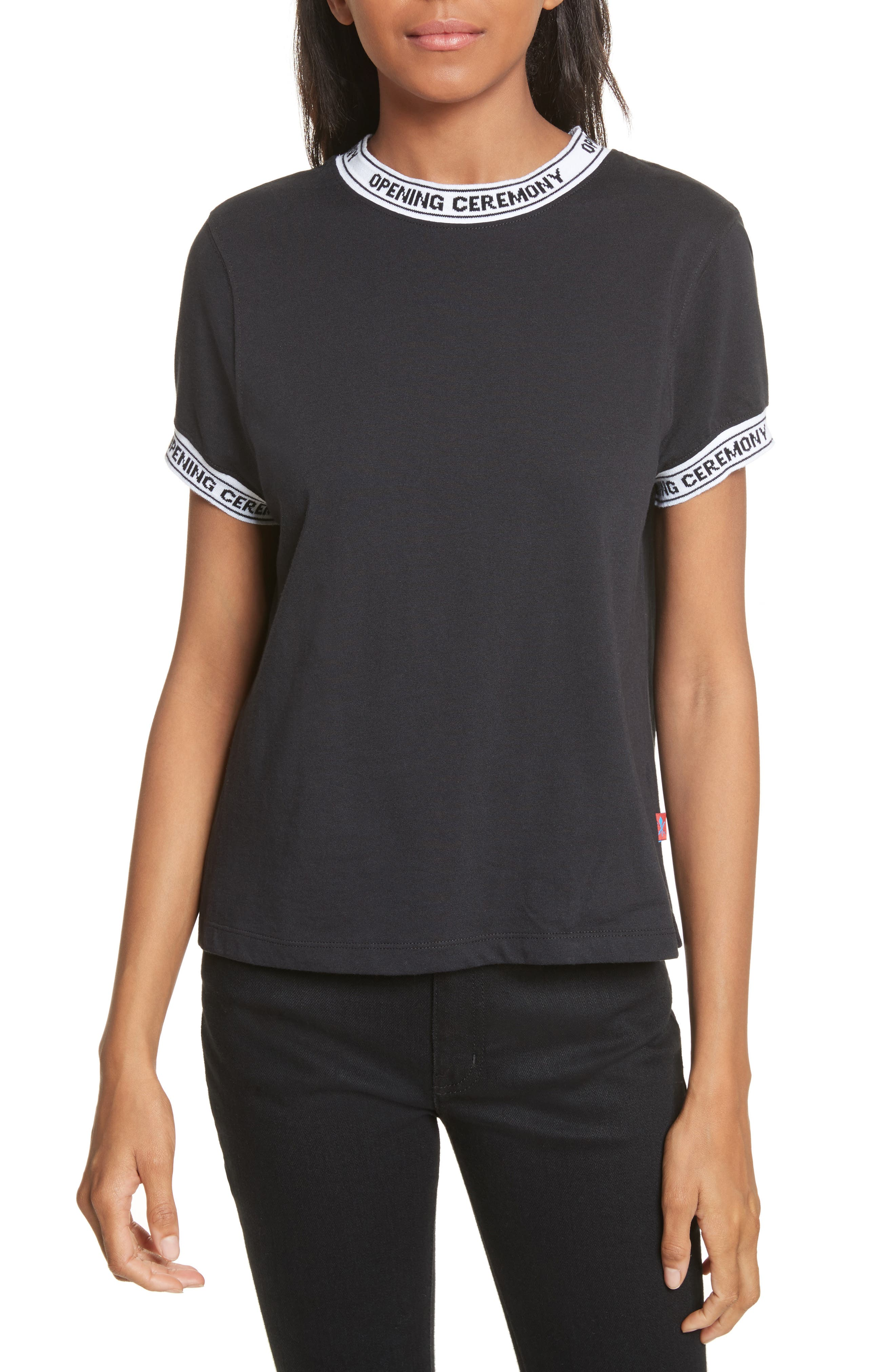 Banded Tee,                         Main,                         color, Black