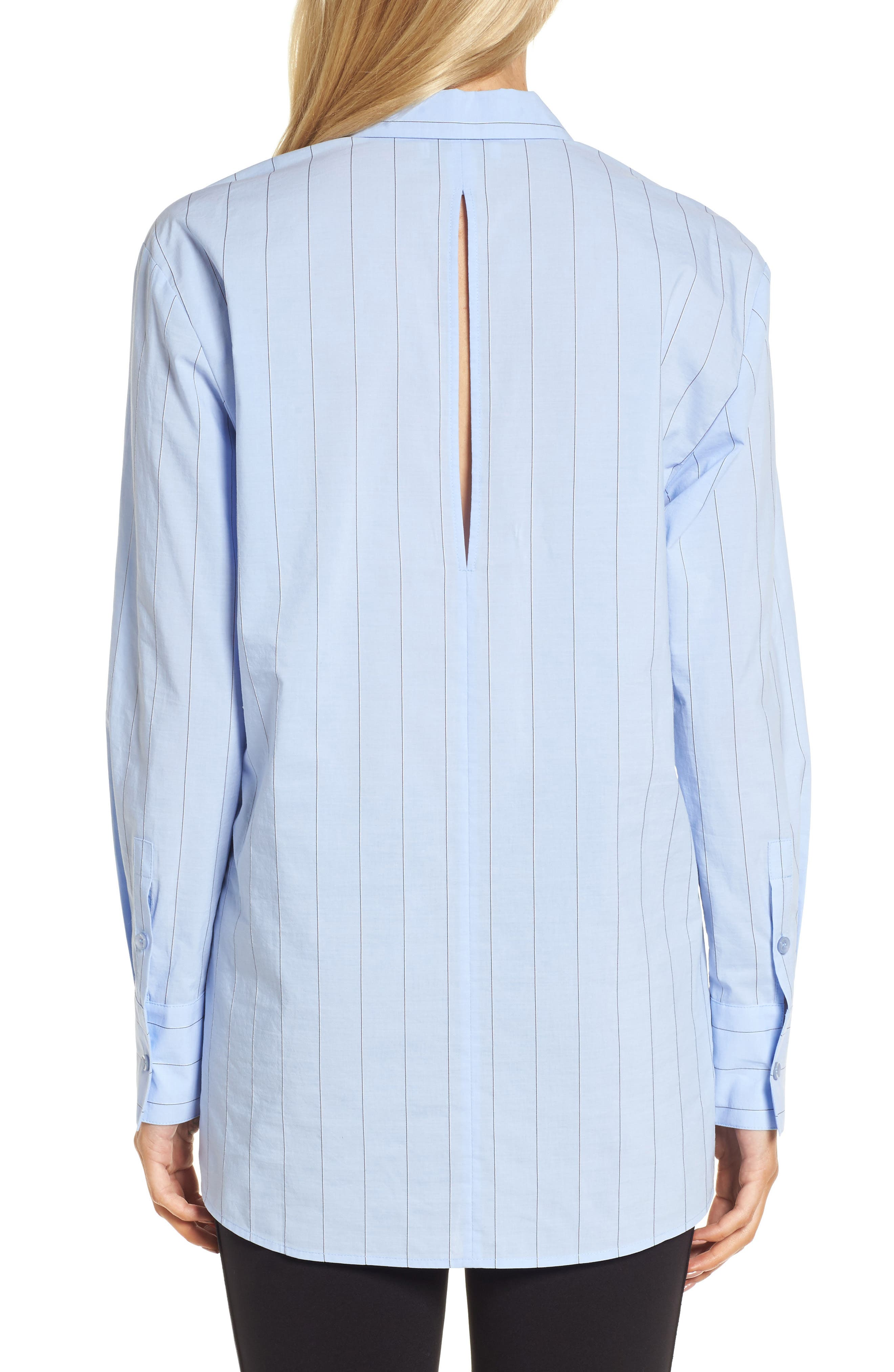 Keyhole Back Stripe Tunic Shirt,                             Alternate thumbnail 2, color,                             Blue Oxford Micro Stripe