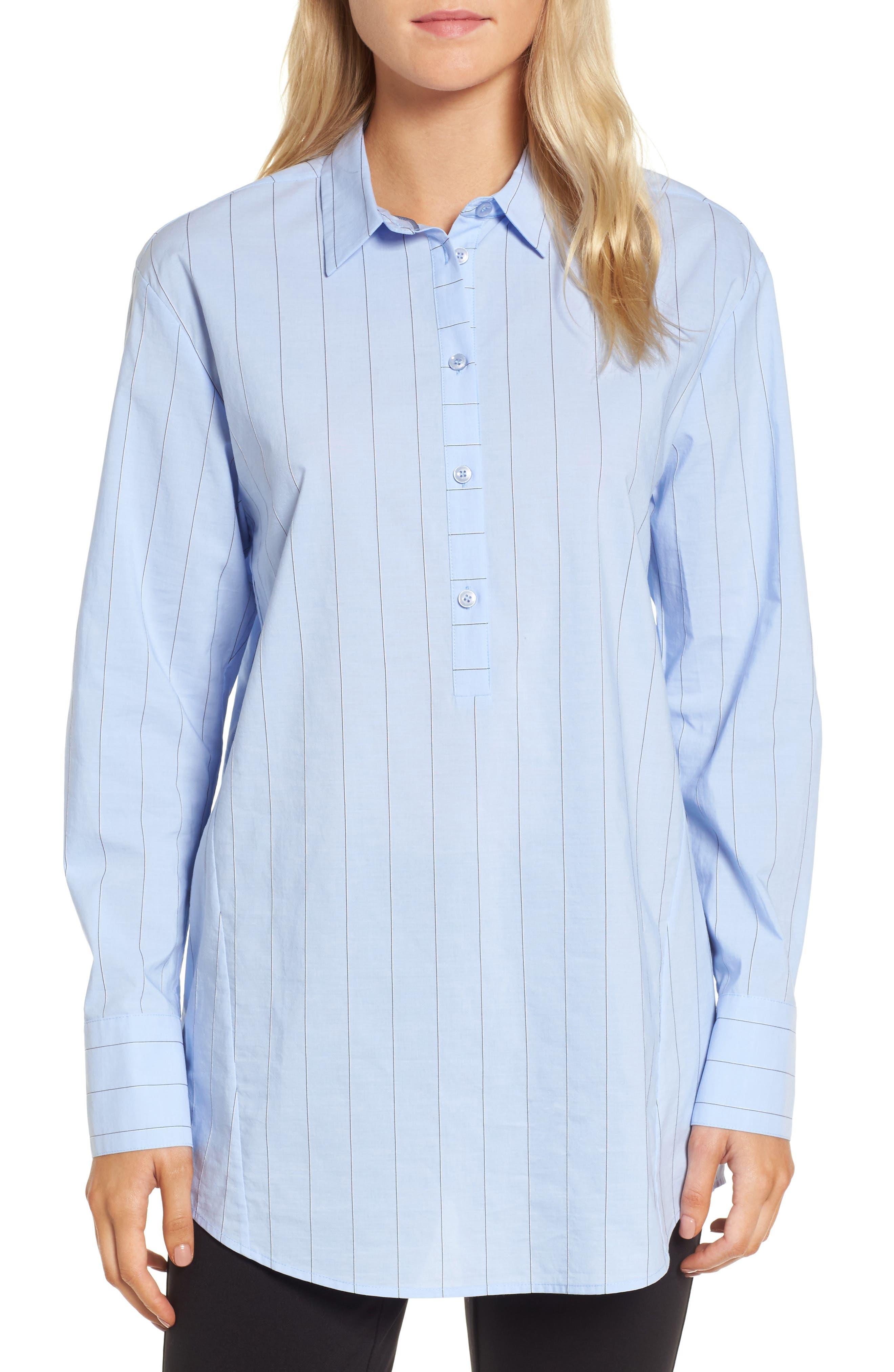 Keyhole Back Stripe Tunic Shirt,                             Main thumbnail 1, color,                             Blue Oxford Micro Stripe