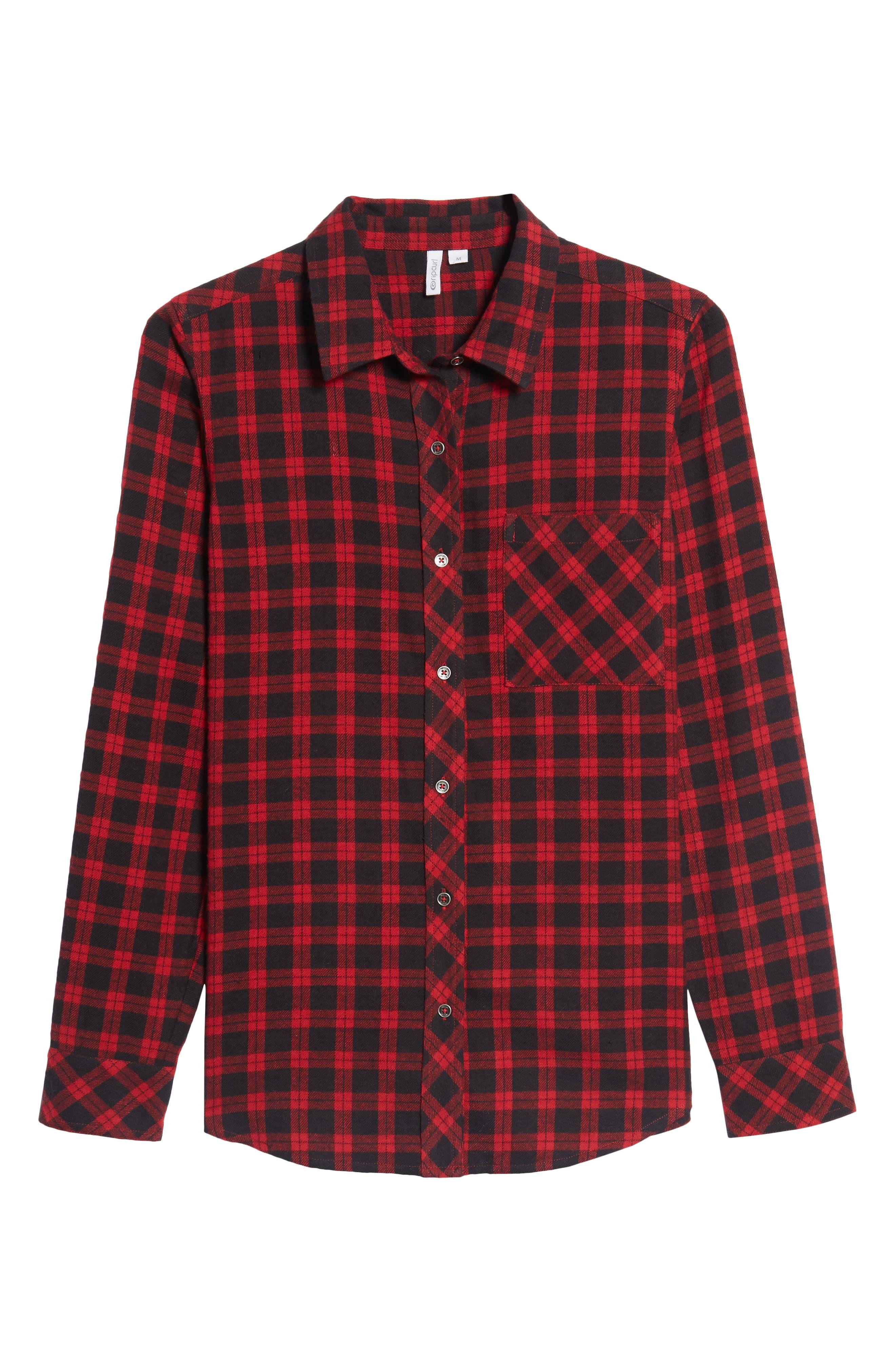 Rhea Check Flannel Shirt,                             Alternate thumbnail 6, color,                             Red