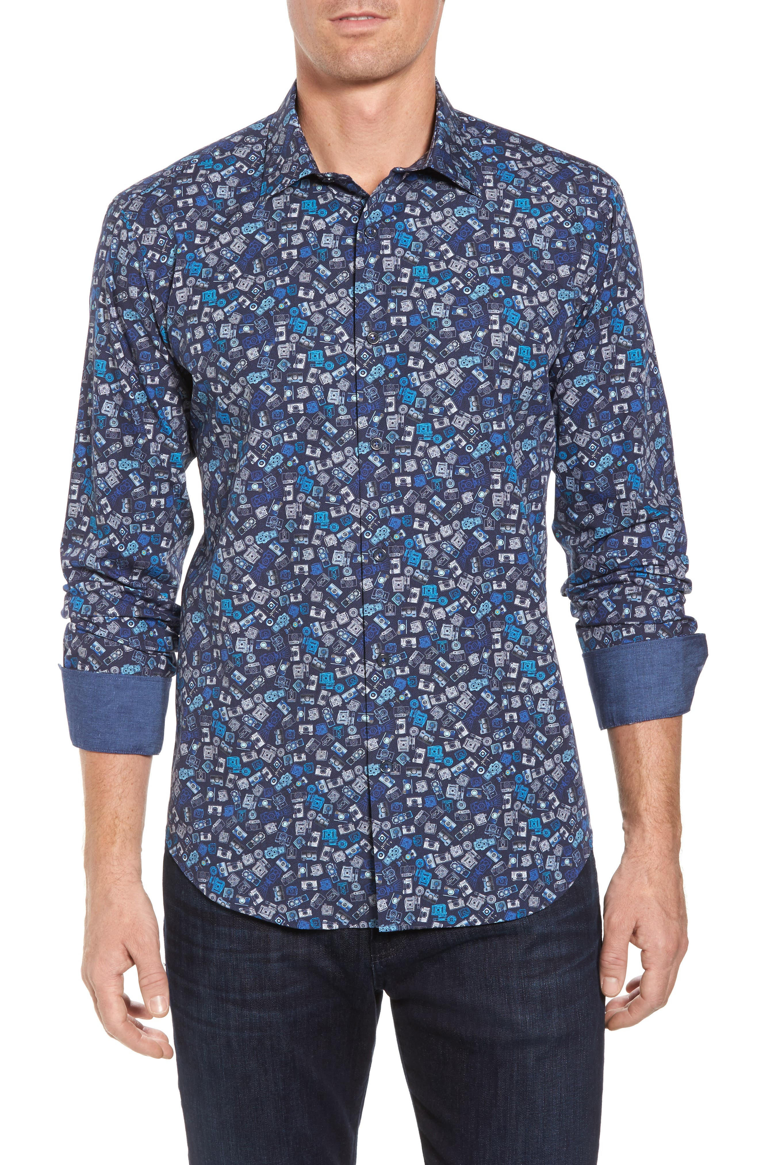 Alternate Image 1 Selected - Bugatchi Shaped Fit Camera Print Sport Shirt