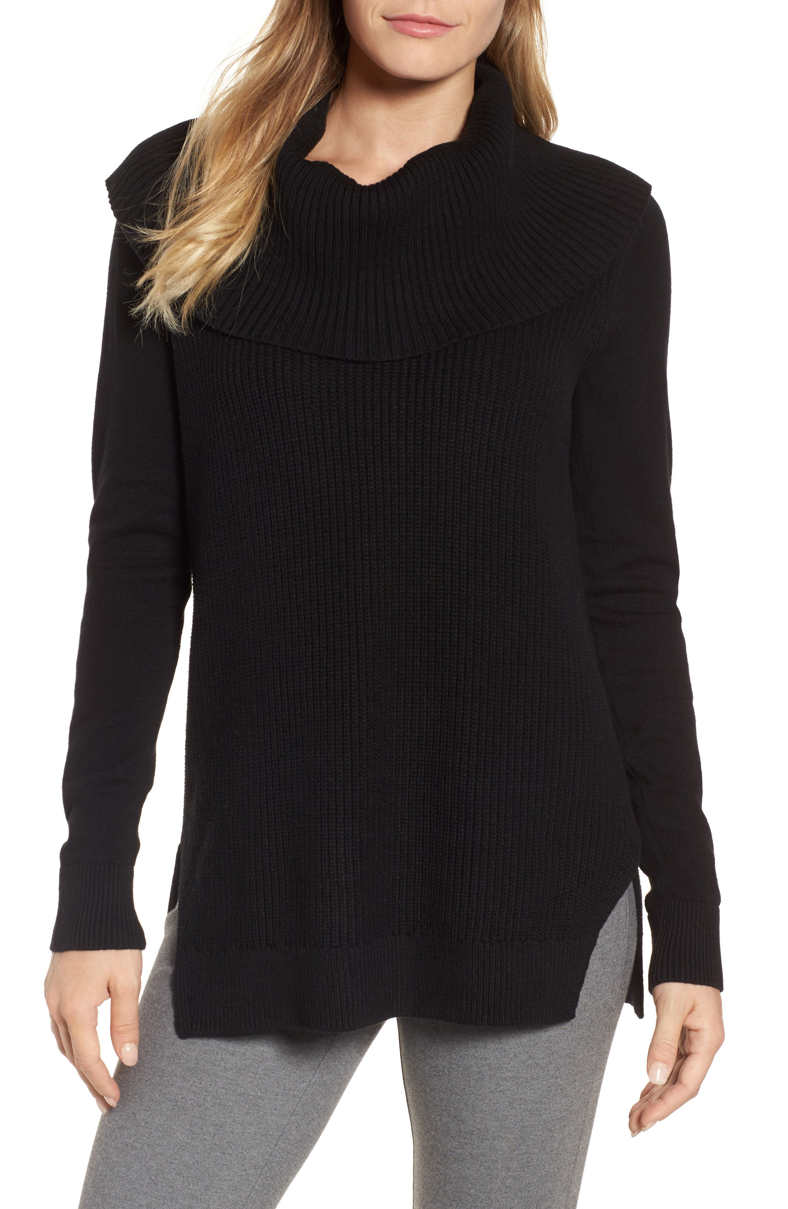 Cowl Neck Sweater,                             Main thumbnail 1, color,                             Black