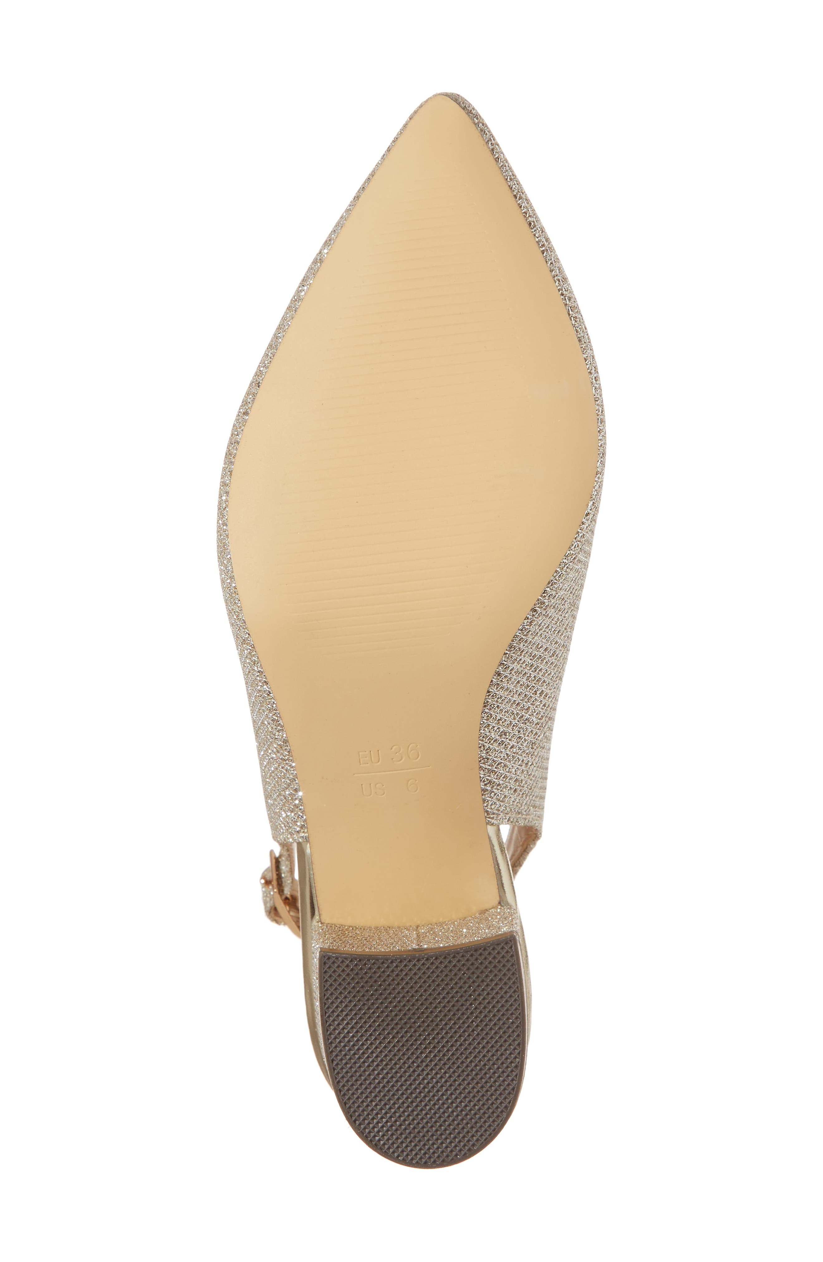 Aubree Slingback Pump,                             Alternate thumbnail 6, color,                             Champagne Glitter
