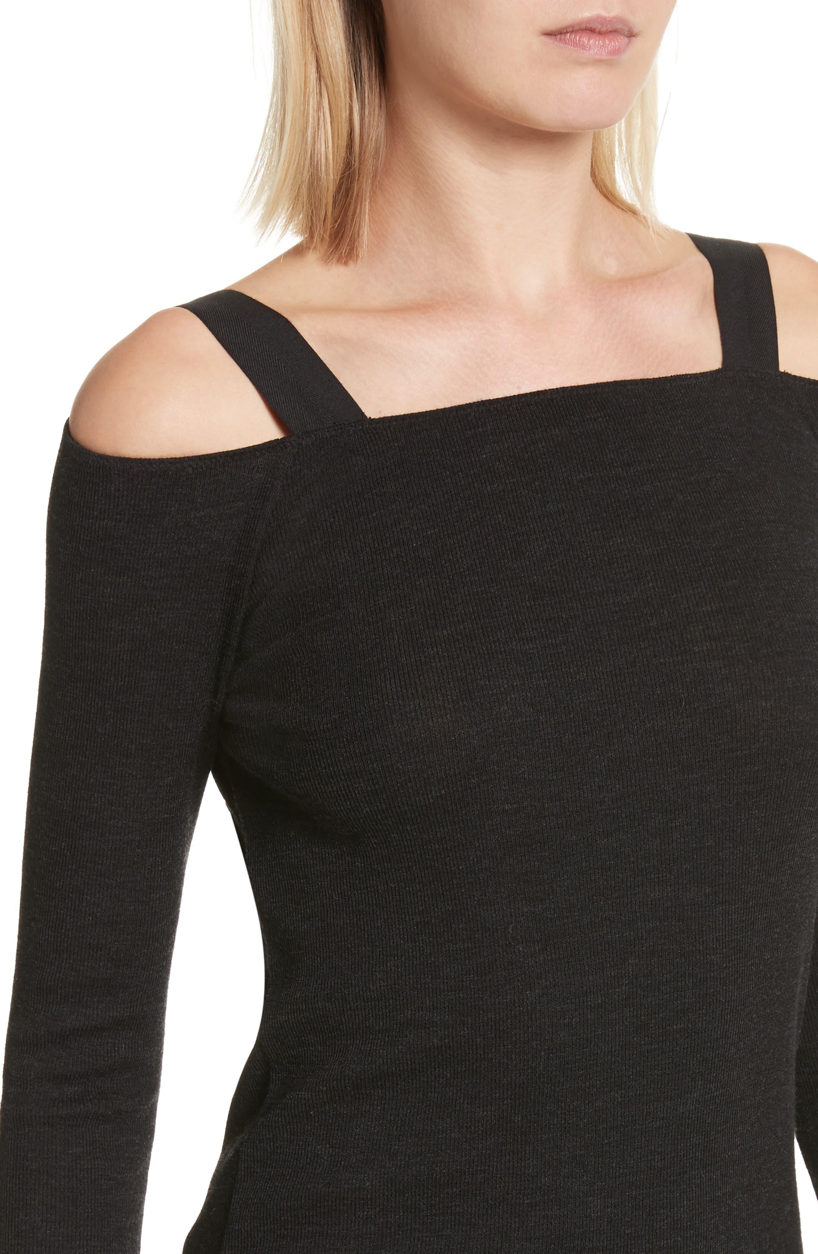 Surplus Off the Shoulder Knit Top,                             Alternate thumbnail 4, color,                             Black