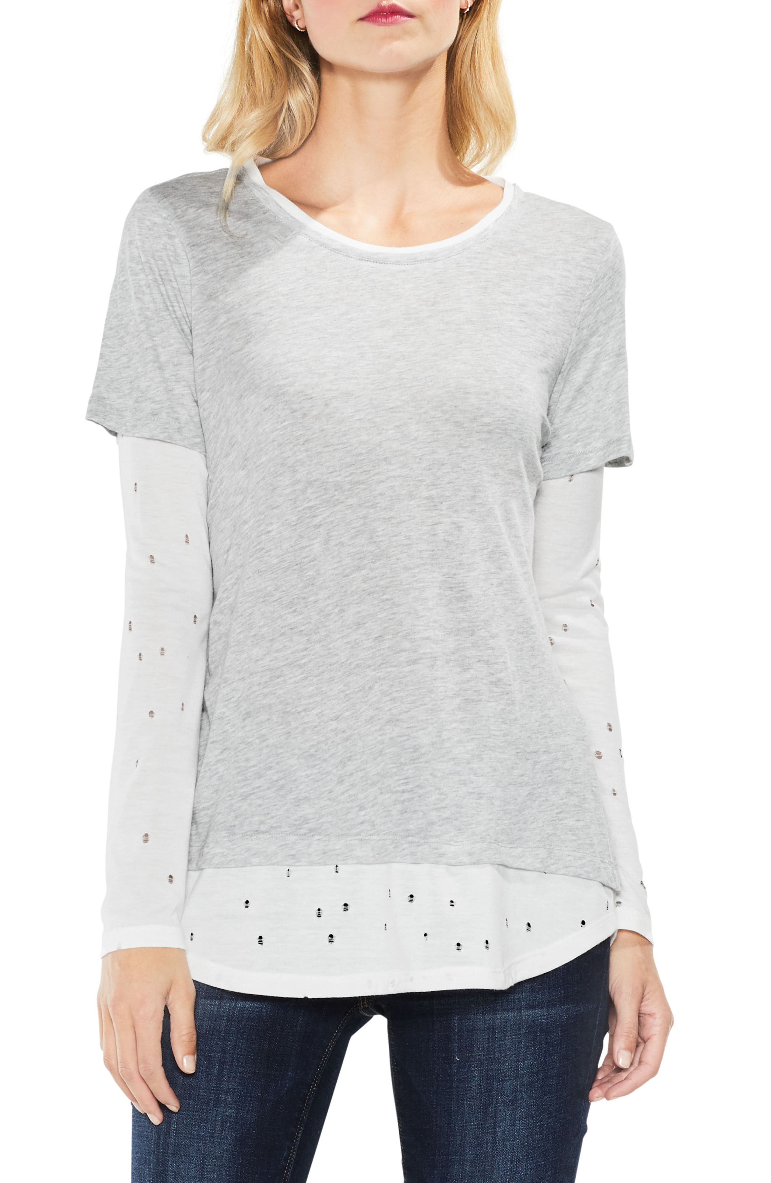 Distressed Mix Media Top,                         Main,                         color, Grey Heather