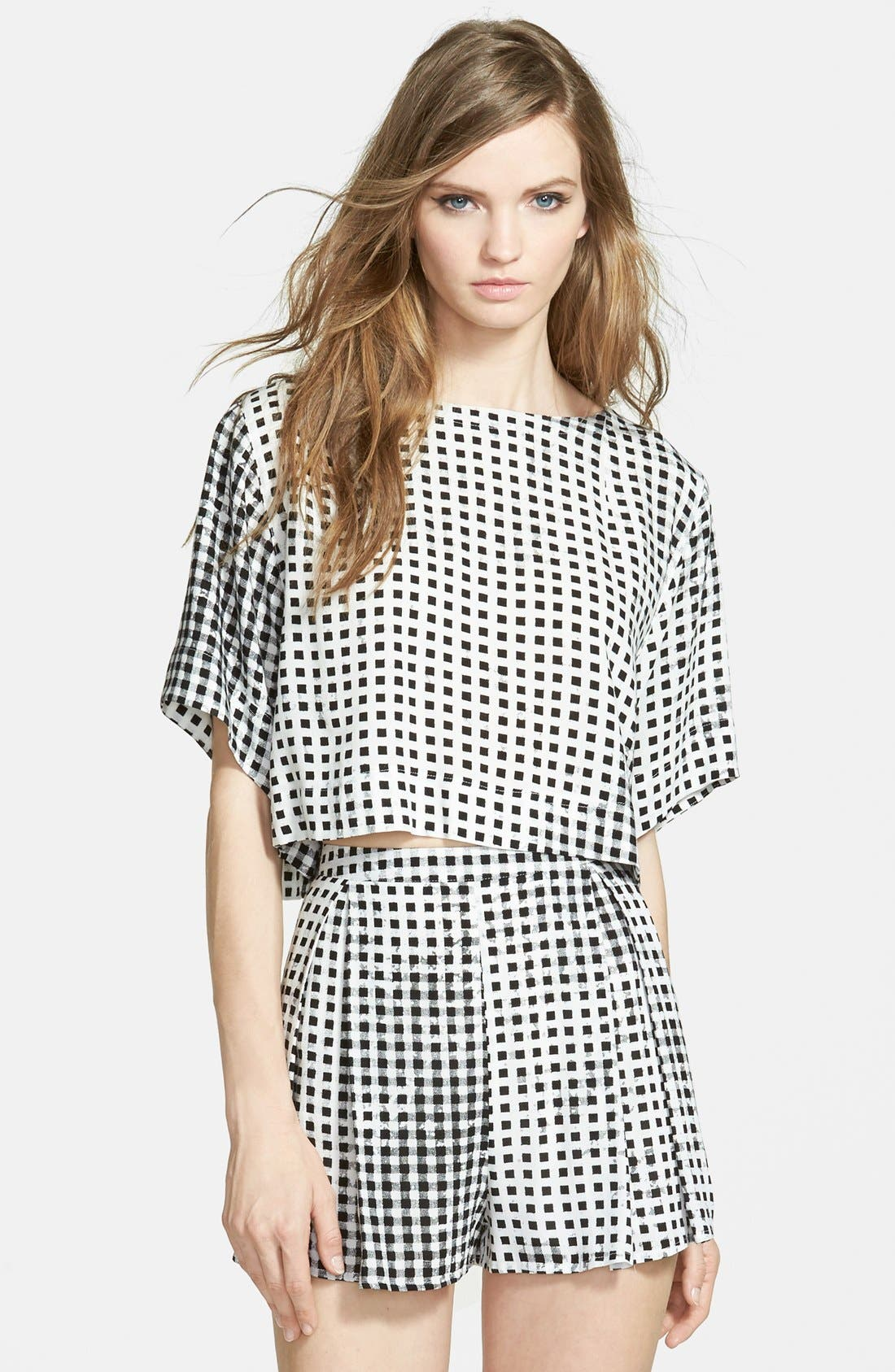 Gingham Crop Tee,                         Main,                         color, Black