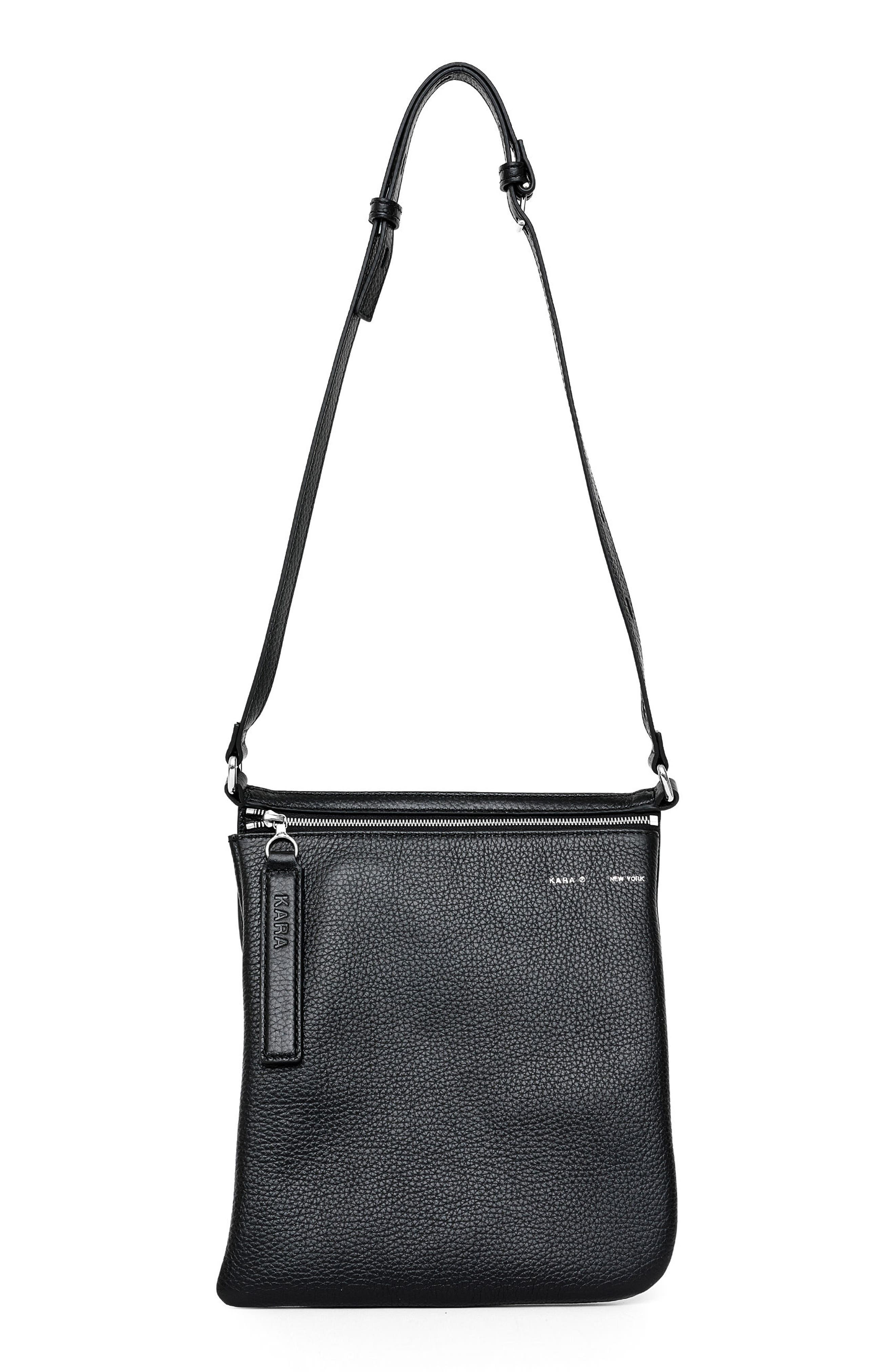 Pebbled Leather Belt Bag,                         Main,                         color, Black