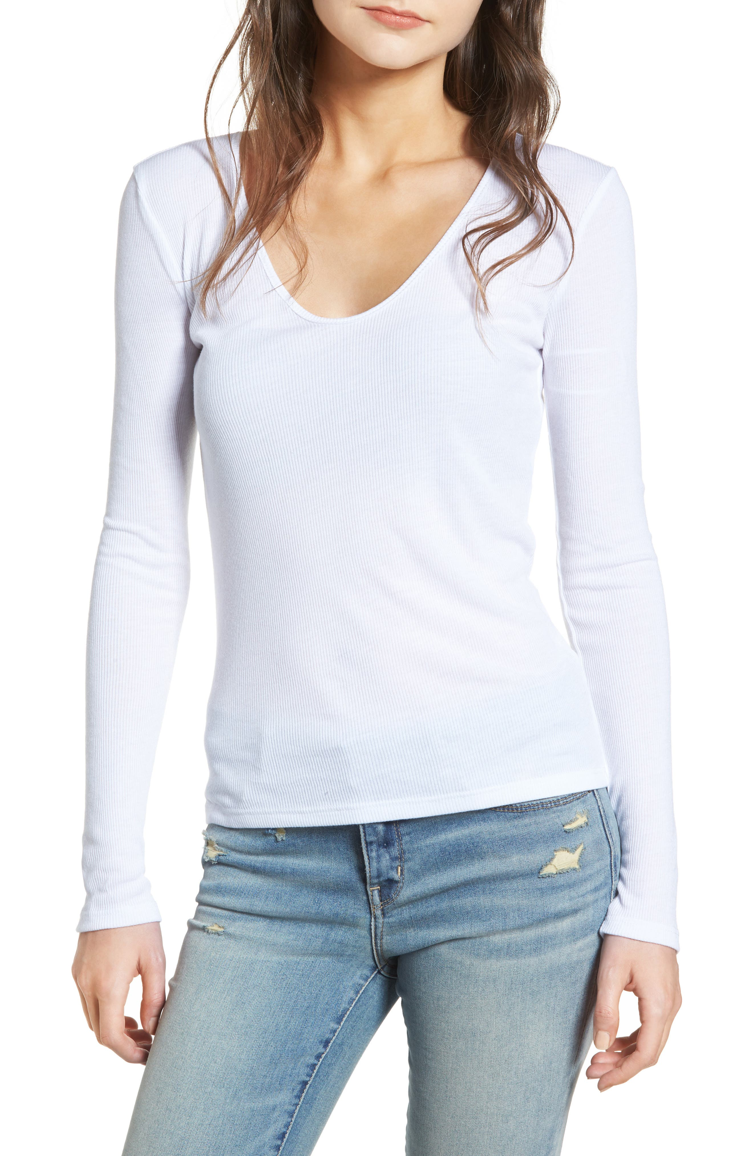 Ribbed Tee,                         Main,                         color, White