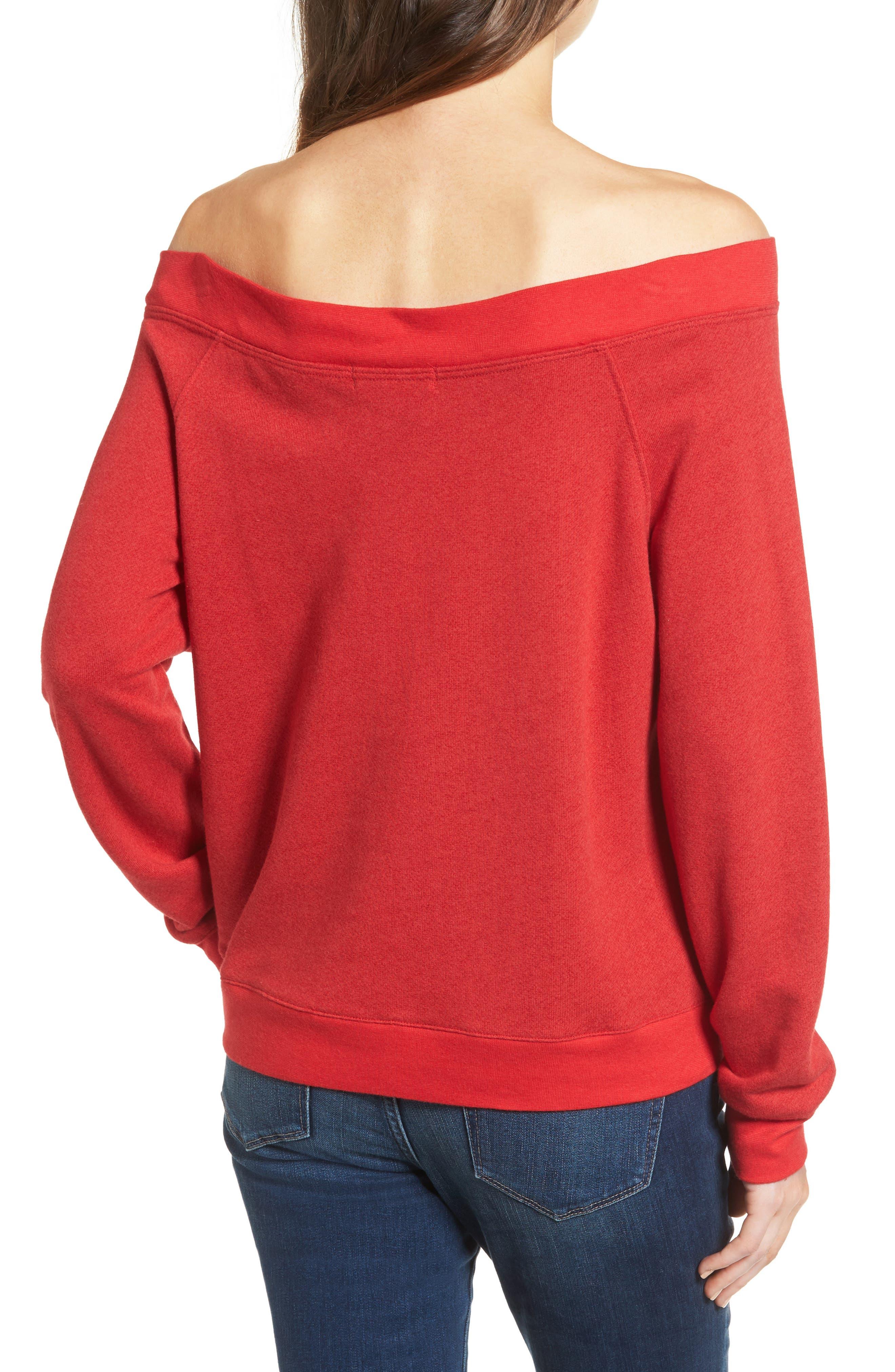 Off the Shoulder Sweatshirt,                             Alternate thumbnail 2, color,                             Red Barbados