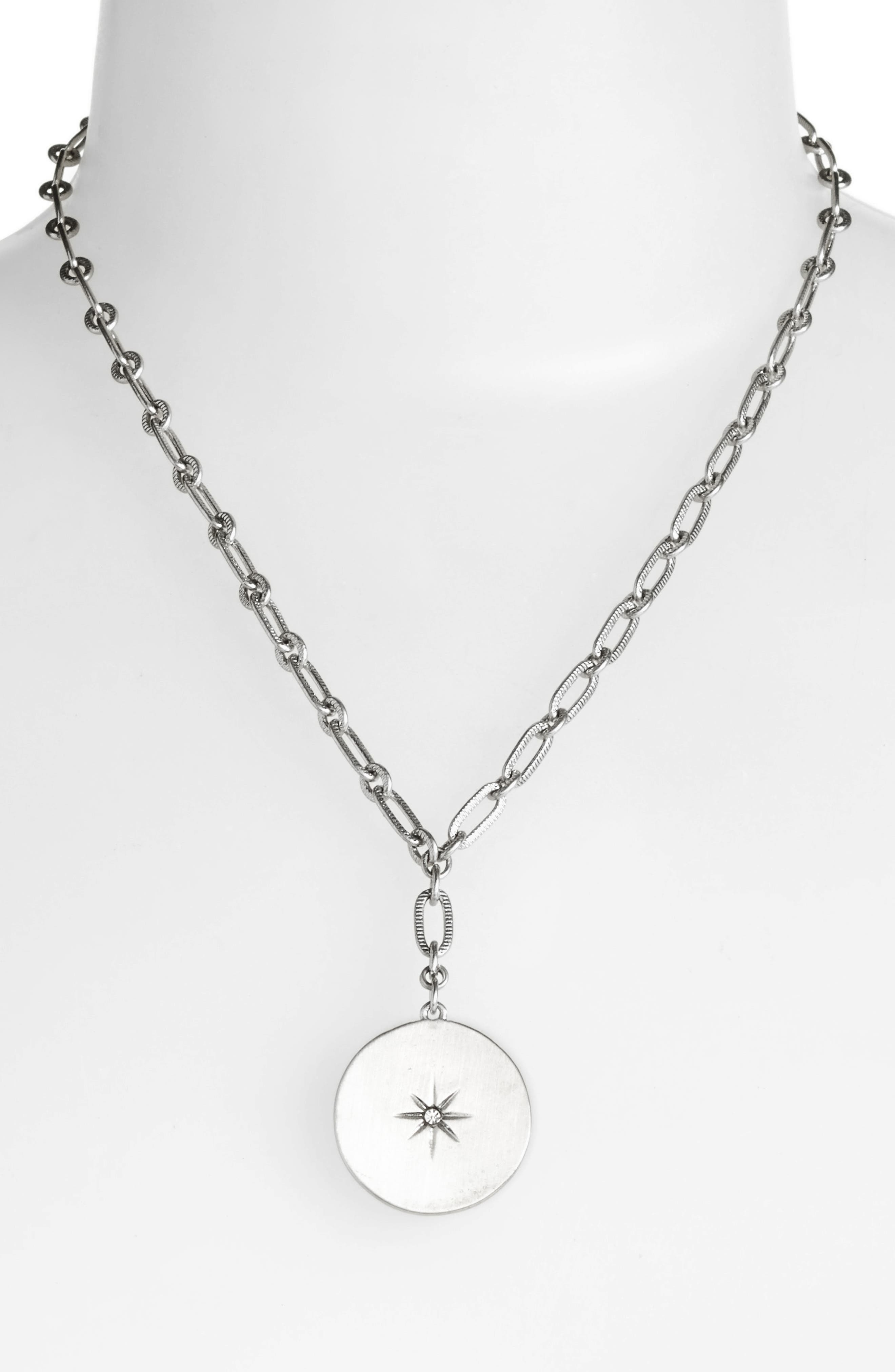 Star Disc Short Y Necklace,                             Alternate thumbnail 2, color,                             Clear- Rhodium