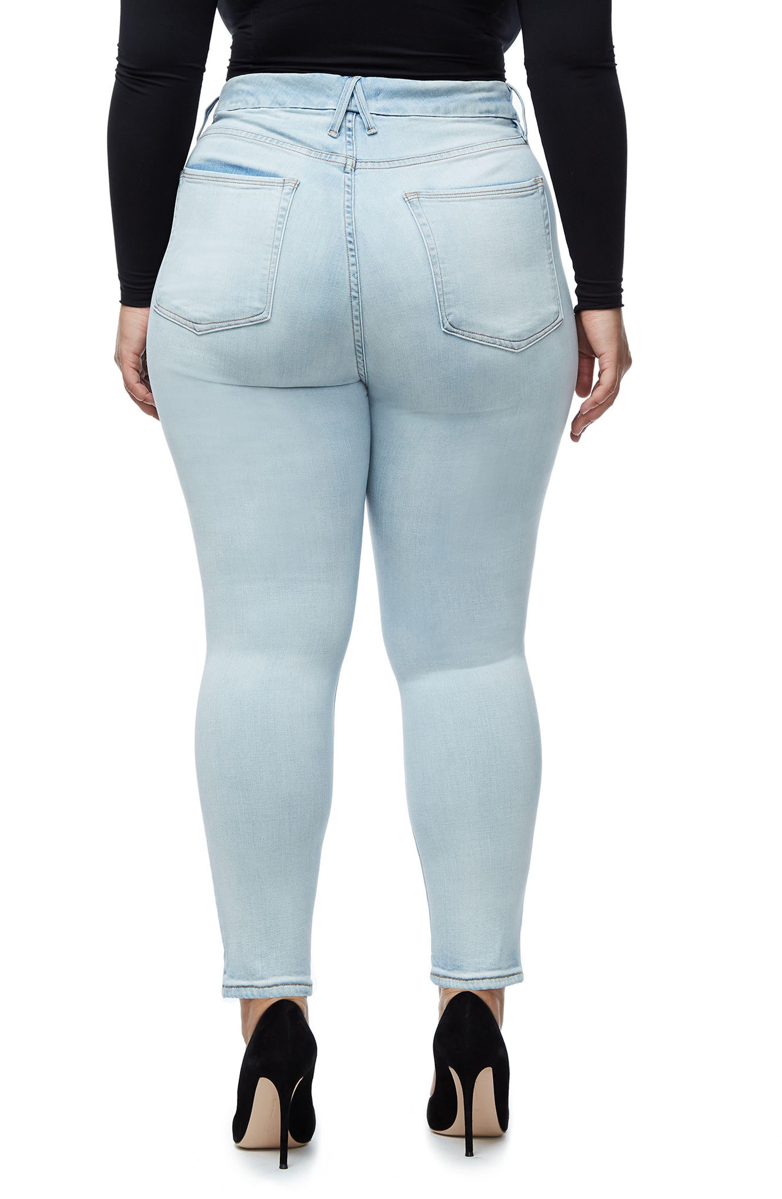 Alternate Image 5  - Good American Good Waist Skinny Jeans (Blue 116) (Regular & Plus Size)