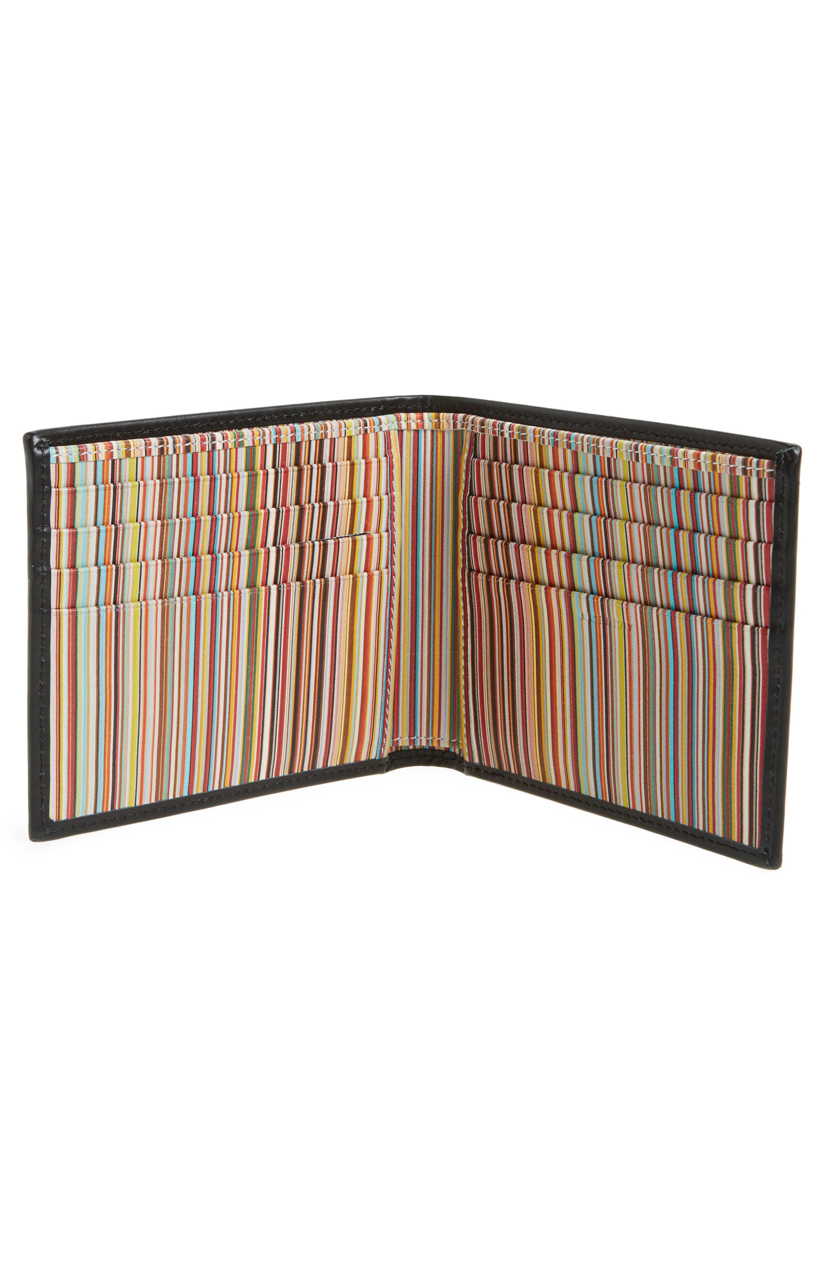 Multistripe Leather Bifold Wallet,                             Alternate thumbnail 2, color,                             Black