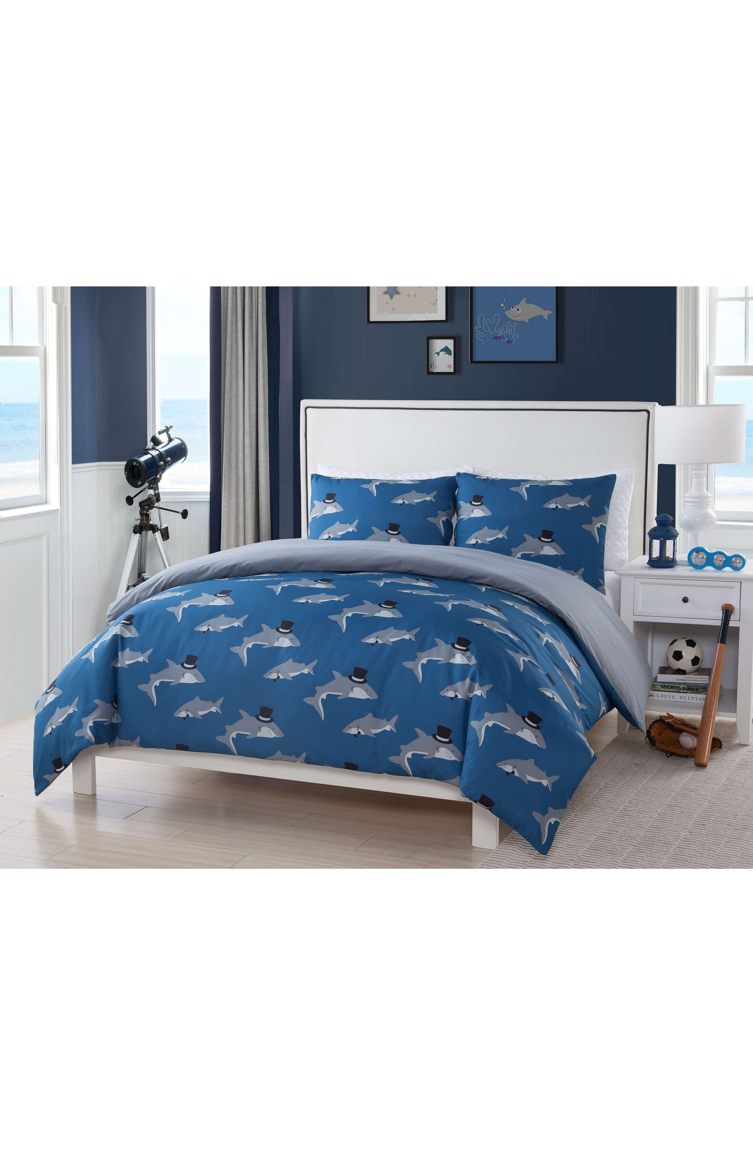 Chomp Shark Duvet Cover & Sham Set,                             Main thumbnail 1, color,                             Blue