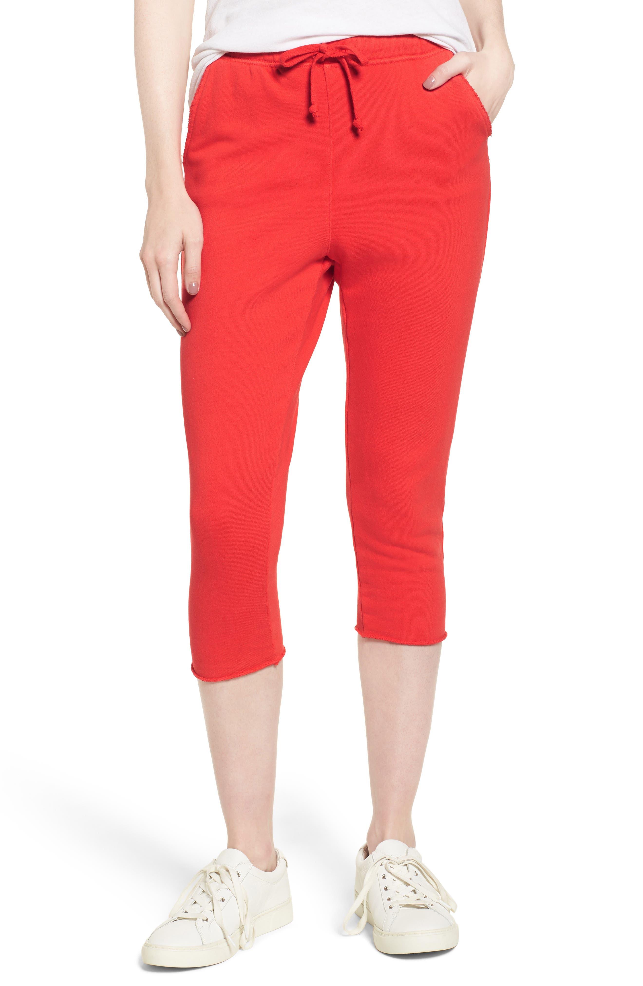 Raw Hem Crop Sweatpants,                             Main thumbnail 1, color,                             Flash