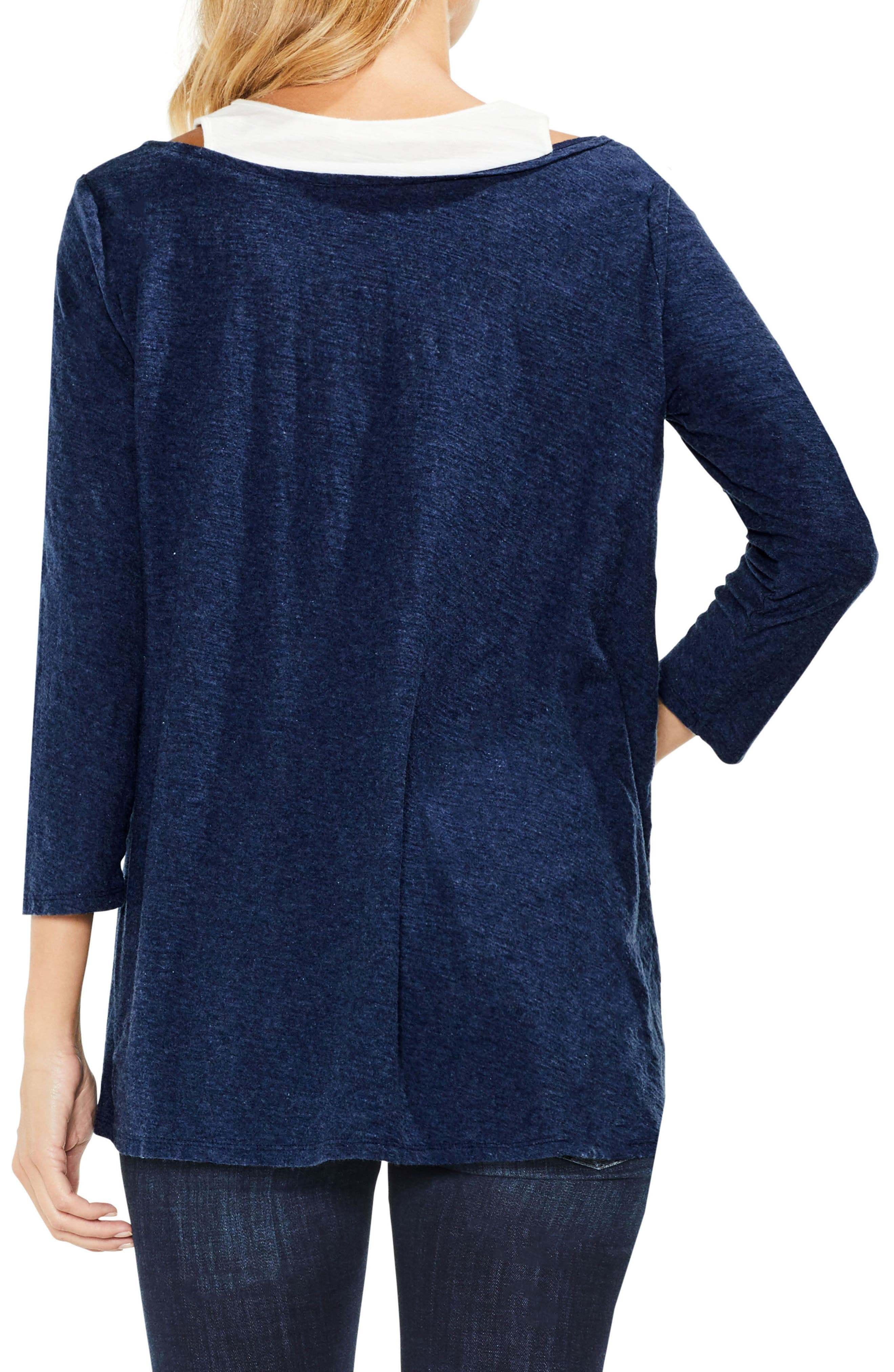 Two by Vince Camuto Layered Top,                             Alternate thumbnail 2, color,                             Indigo Night