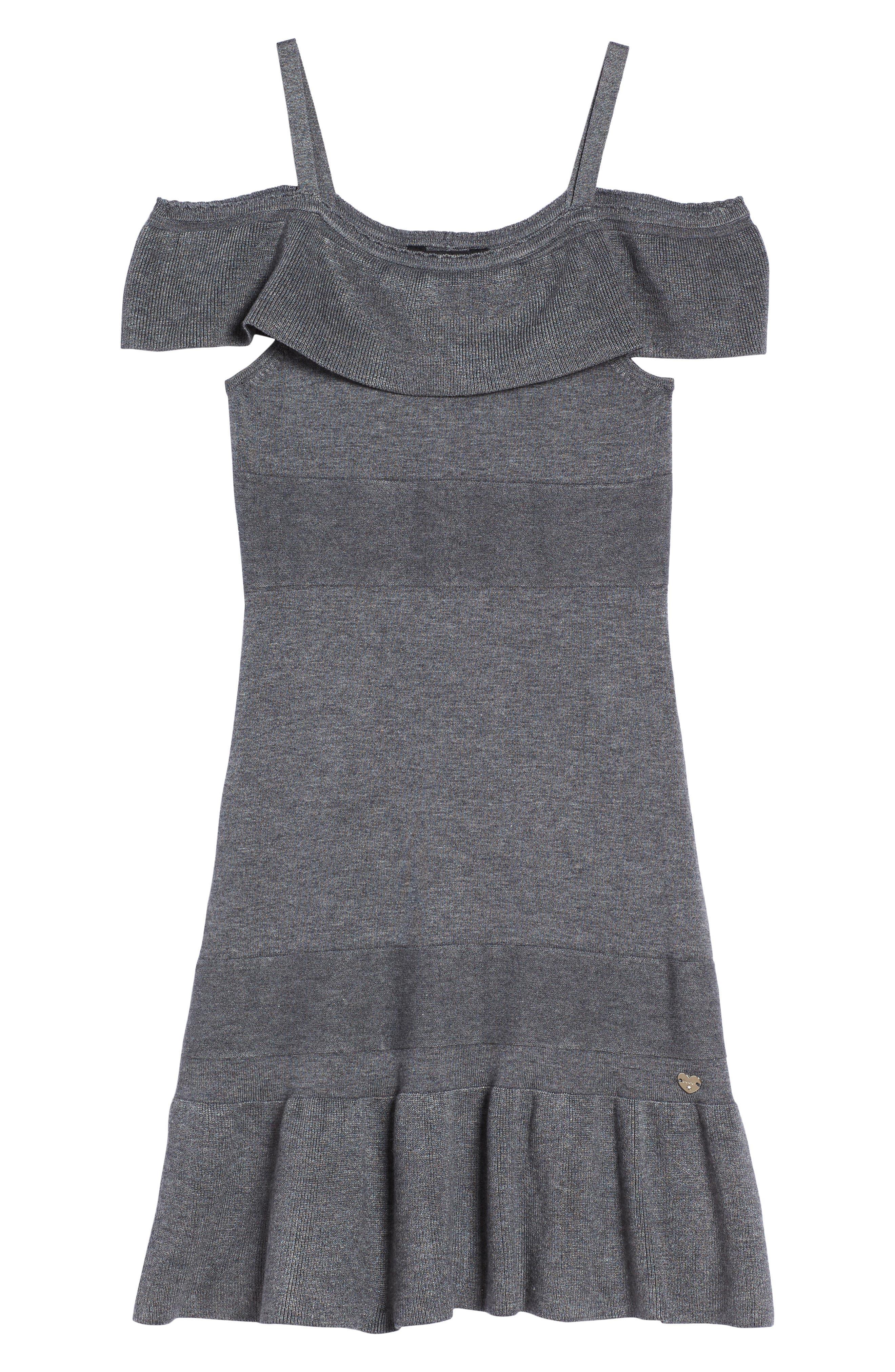 Ruffle Cold Shoulder Dress,                         Main,                         color, Charcoal