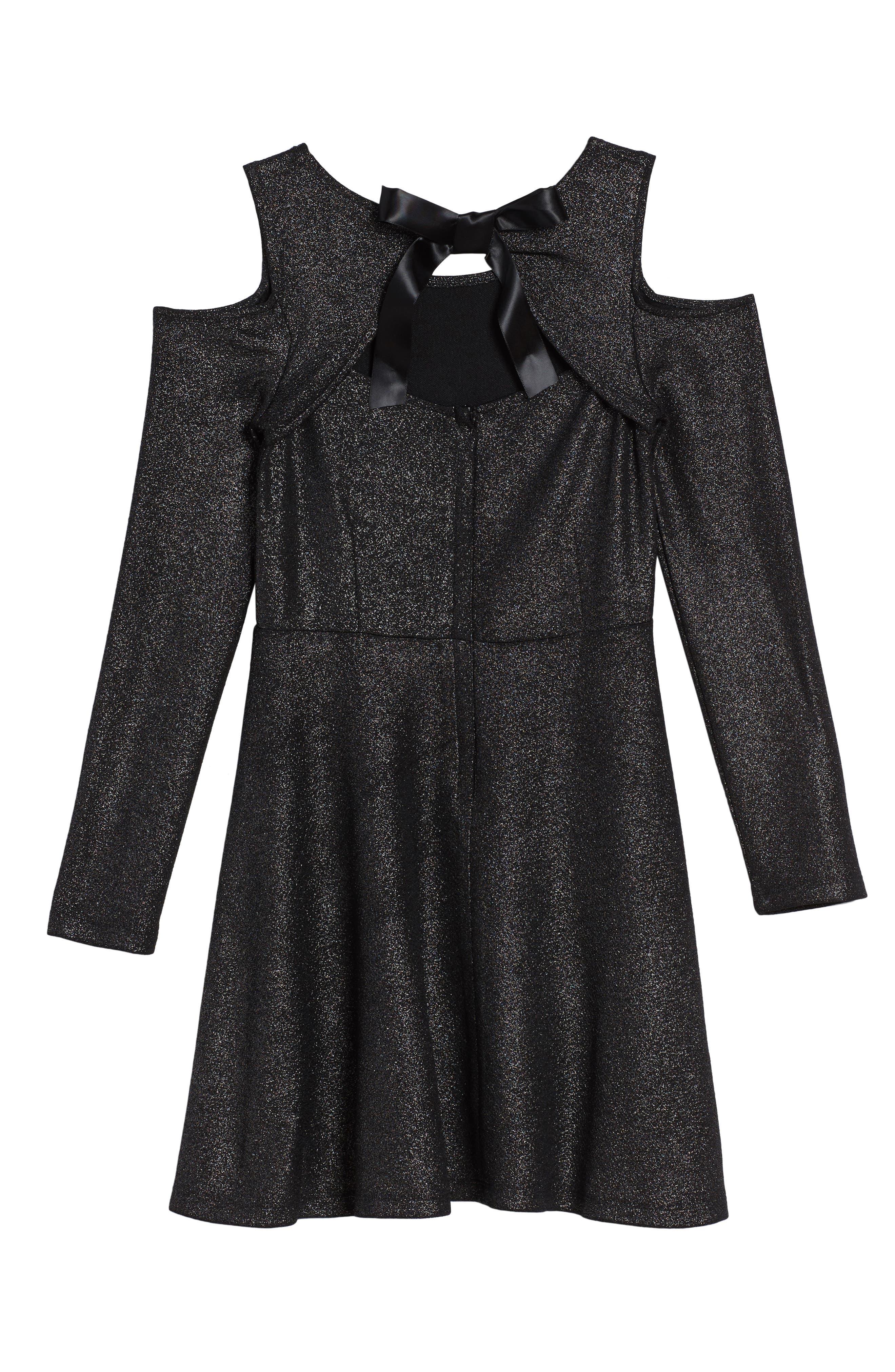 Alternate Image 2  - bebe Sparkle Knit Cold Shoulder Dress (Big Girls)