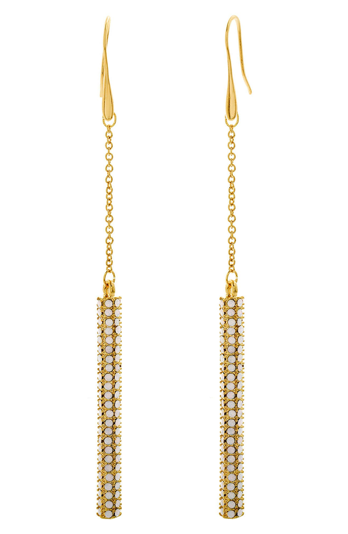 Rolo Crystal Bar Statement Earrings,                             Main thumbnail 1, color,                             Gold