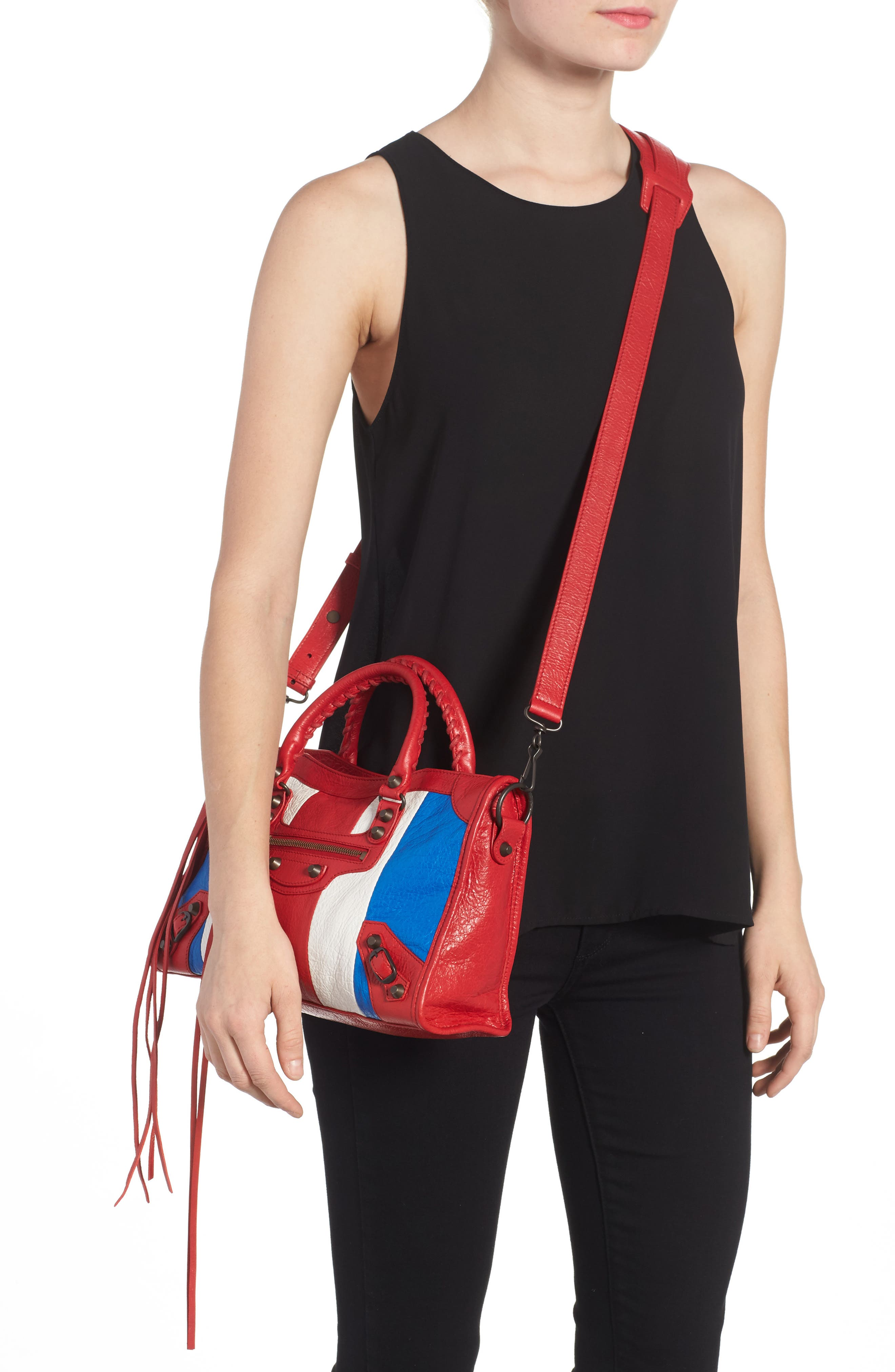 Small Classic City Leather Tote,                             Alternate thumbnail 2, color,                             Blue/ Blanc/ Rouge