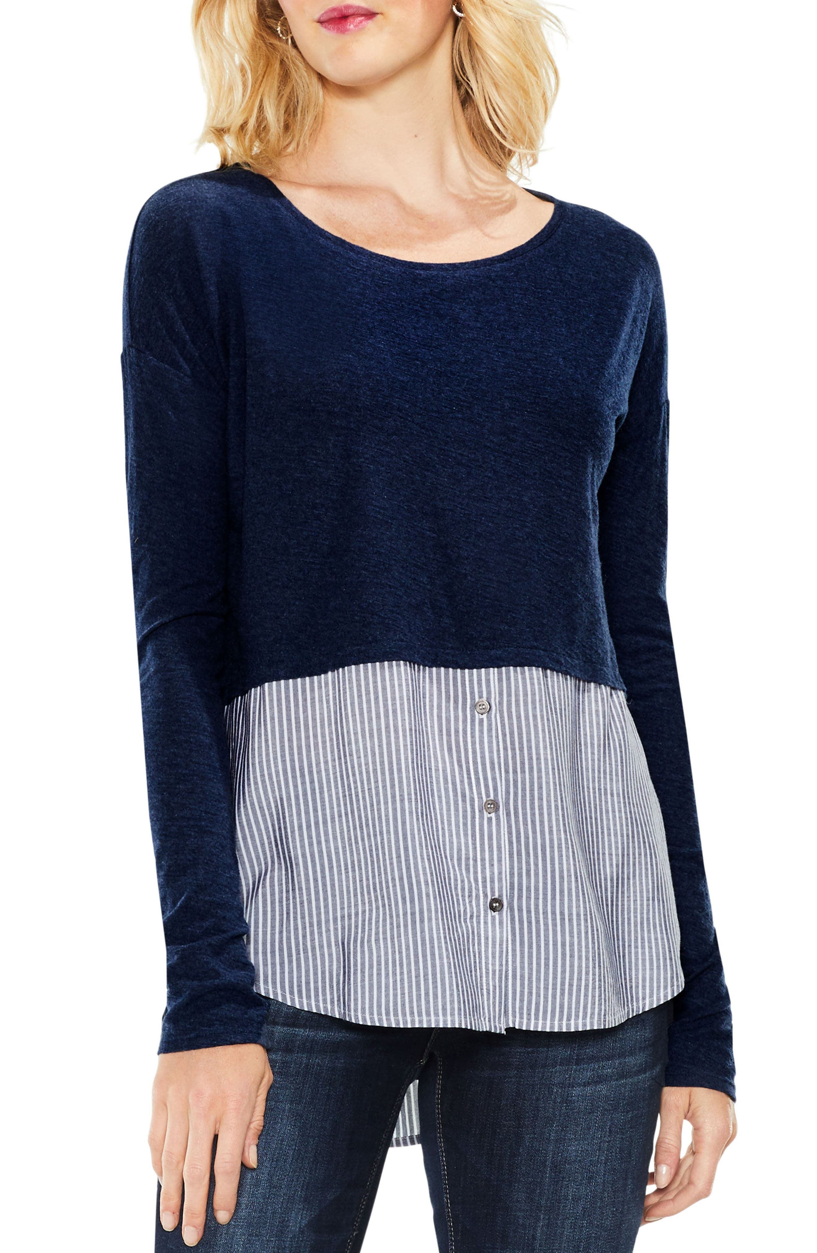 Alternate Image 1 Selected - Two by Vince Camuto Mix Media Shirttail Hem Top (Regular & Petite)