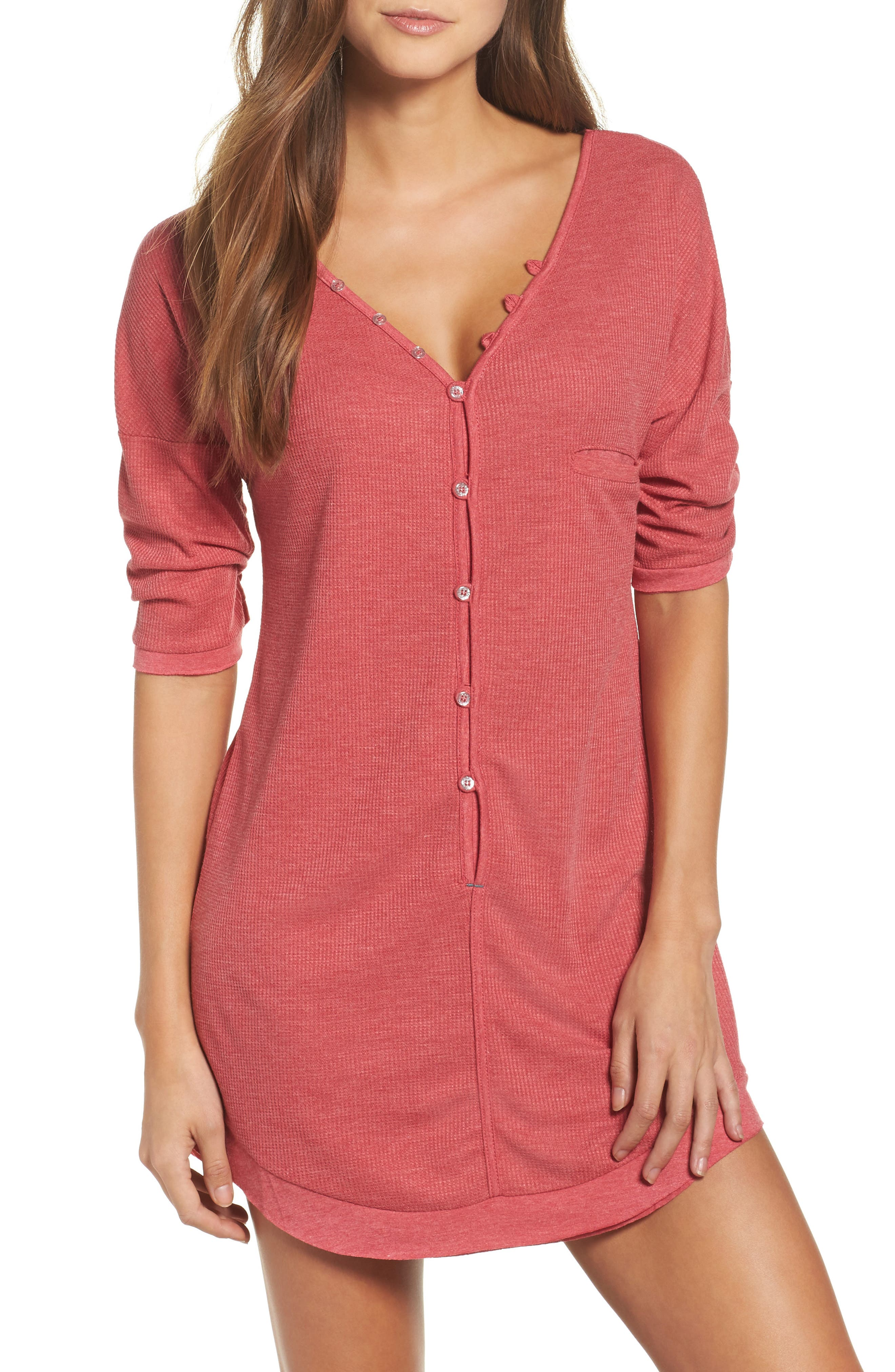Sleep Shirt,                         Main,                         color, Ruby