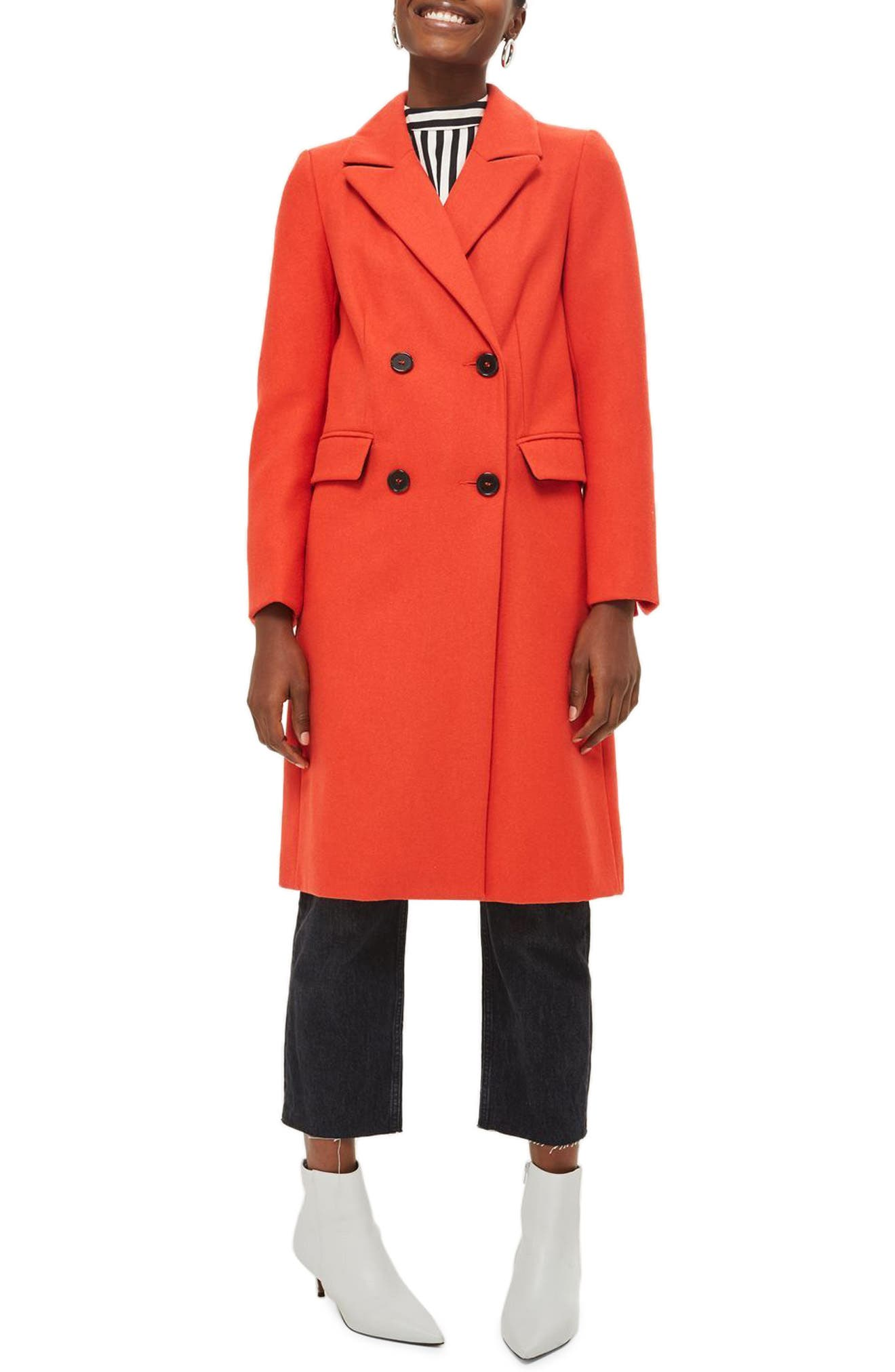 Editors Double Breasted Coat,                         Main,                         color, Red