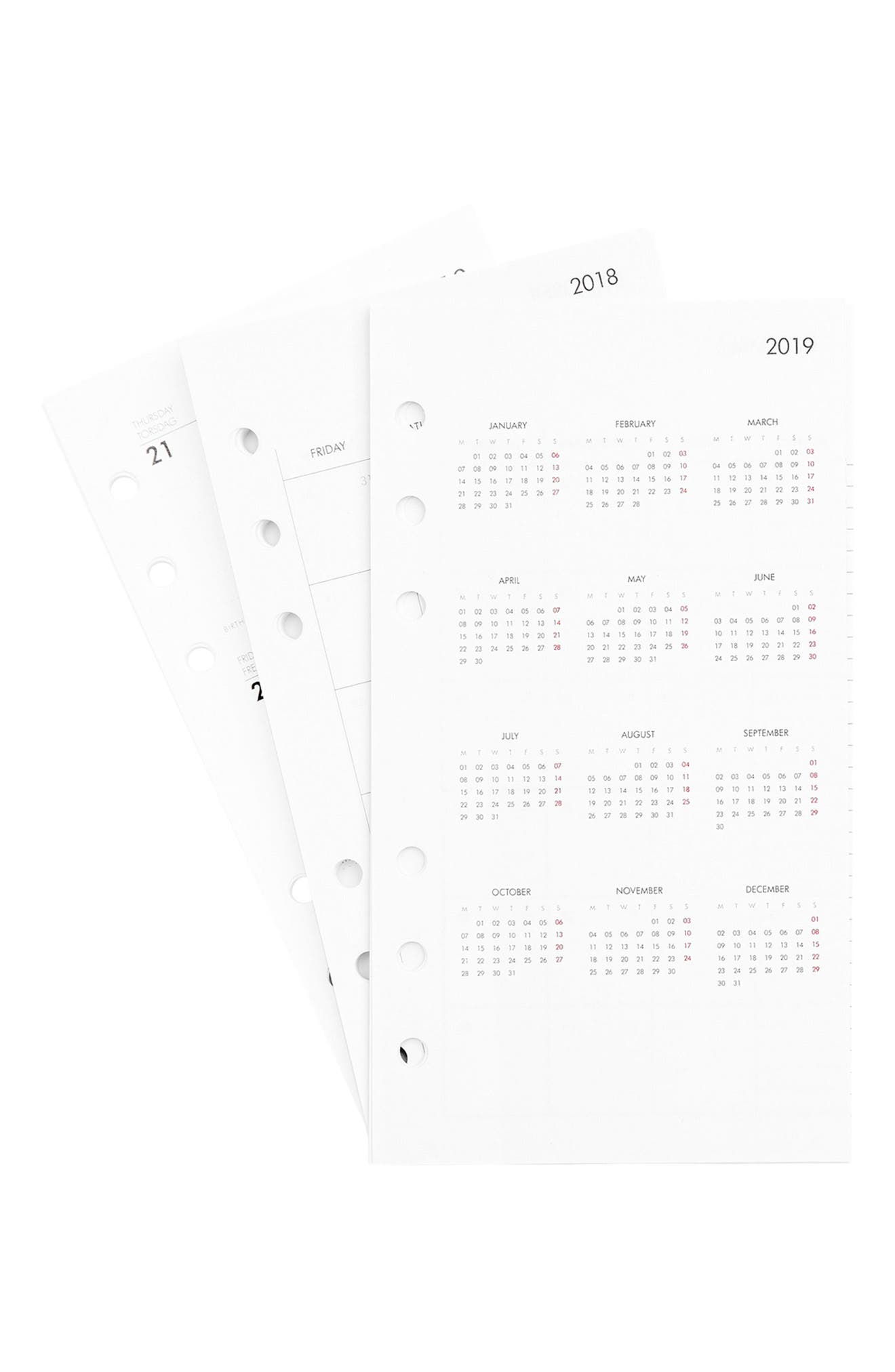 2018 Medium Planner Refill Pack,                             Alternate thumbnail 3, color,                             White