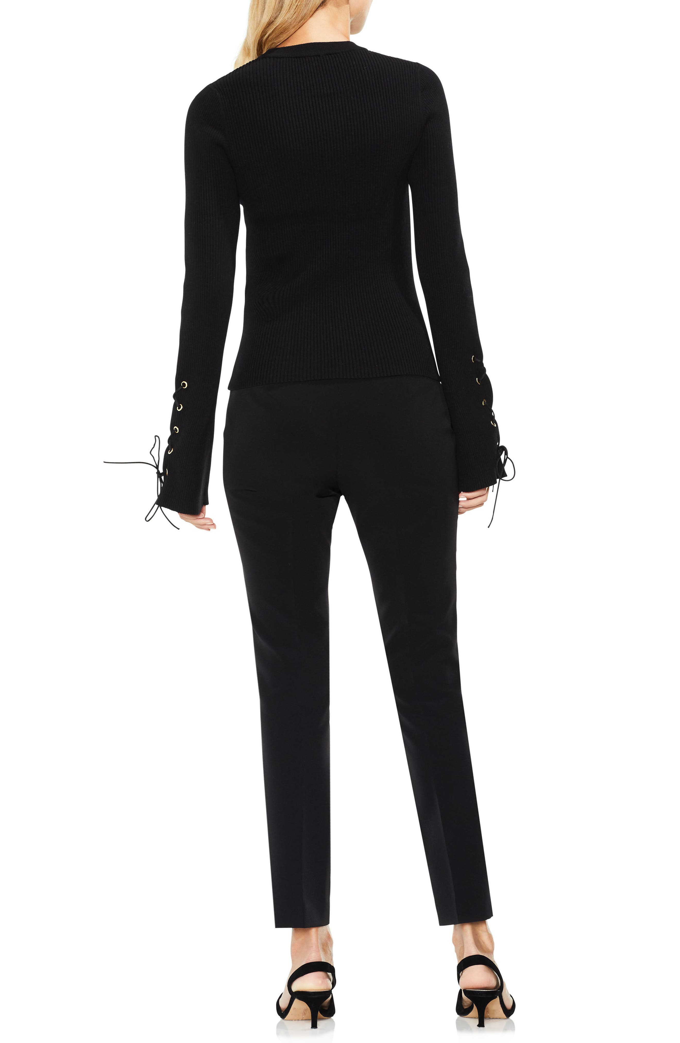 Lace-Up Bell Sleeve Ribbed Sweater,                             Alternate thumbnail 3, color,                             Rich Black