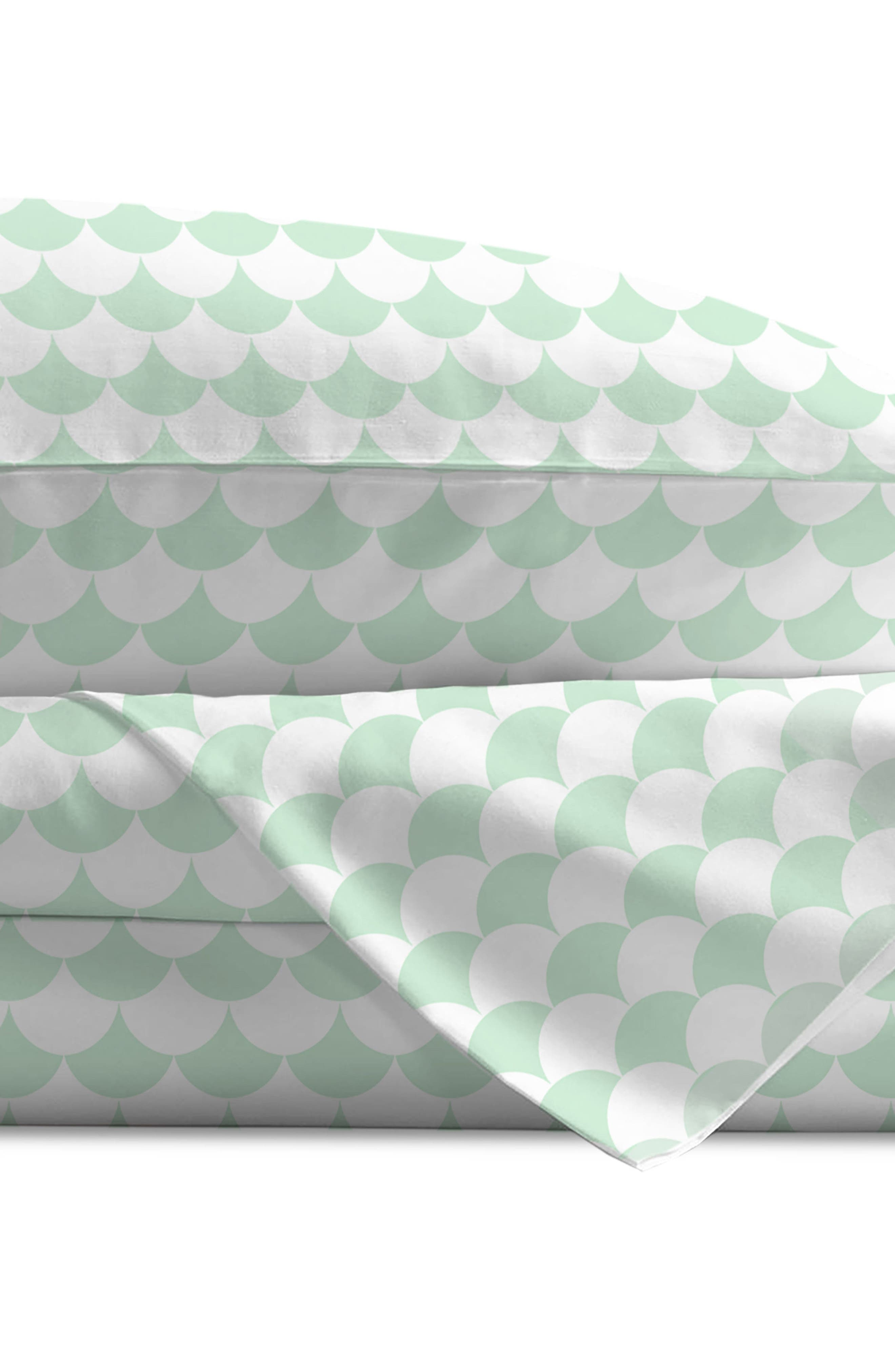 200 Thread Count Toddler Sheet Set,                             Alternate thumbnail 3, color,                             Sea Glass Green Scallops