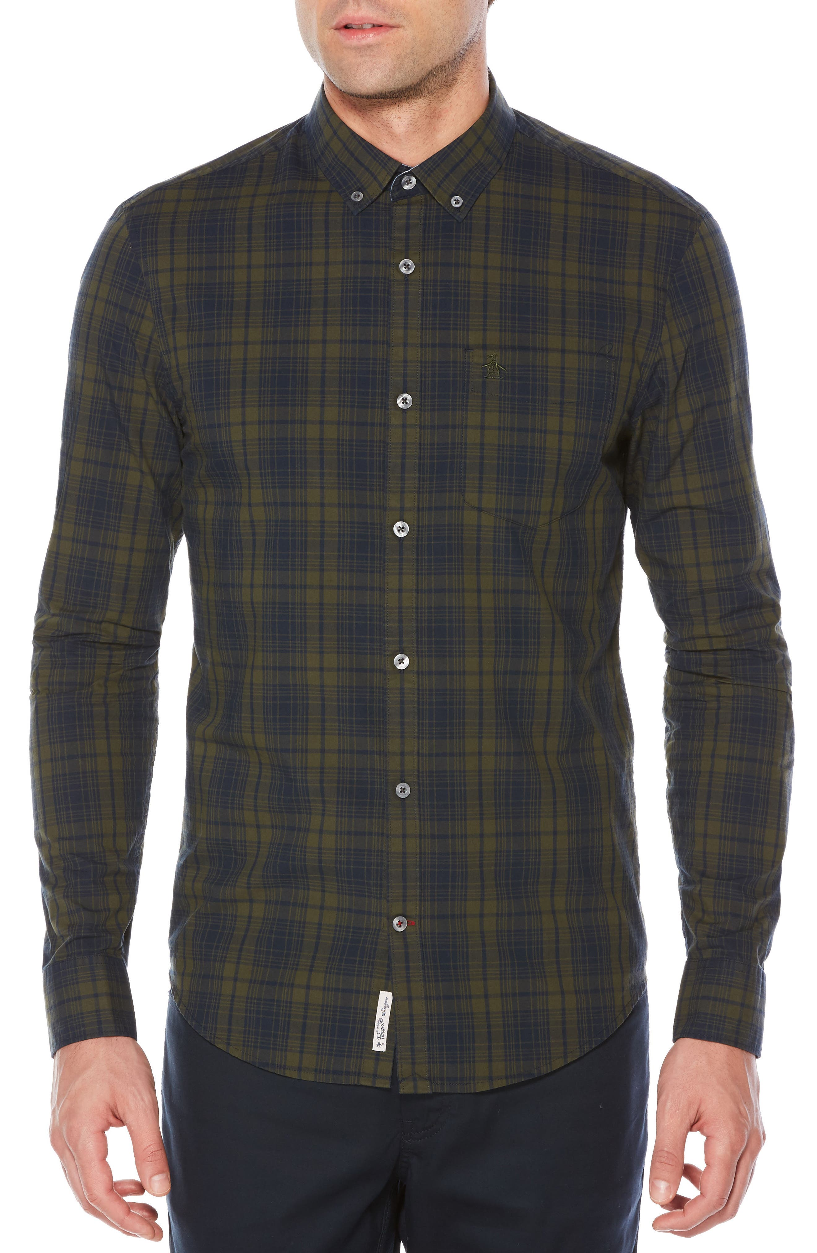 Heritage Slim Fit Plaid Shirt,                         Main,                         color, Forest Night