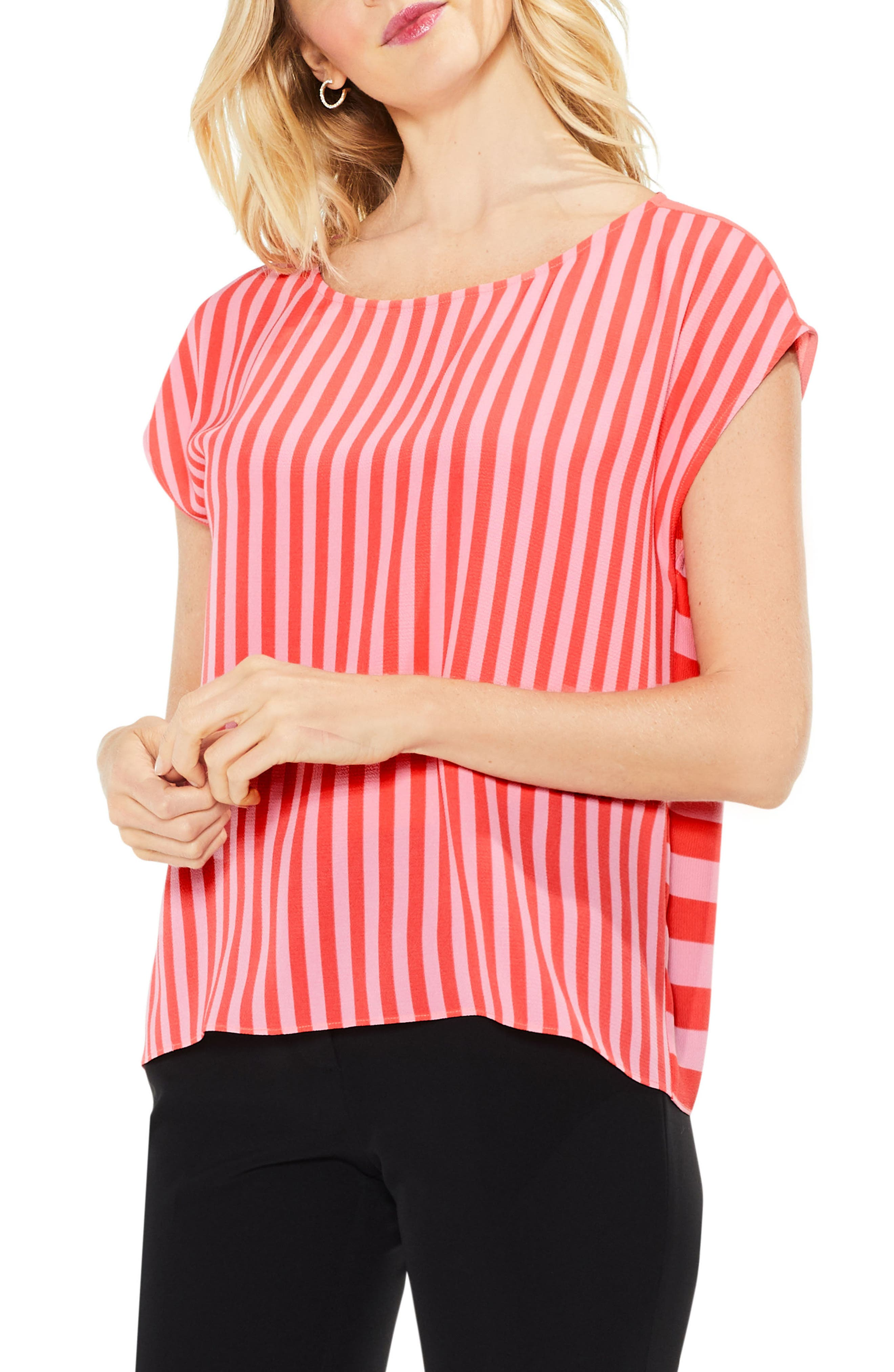 Alternate Image 1 Selected - Vince Camuto Mixed Stripe Top