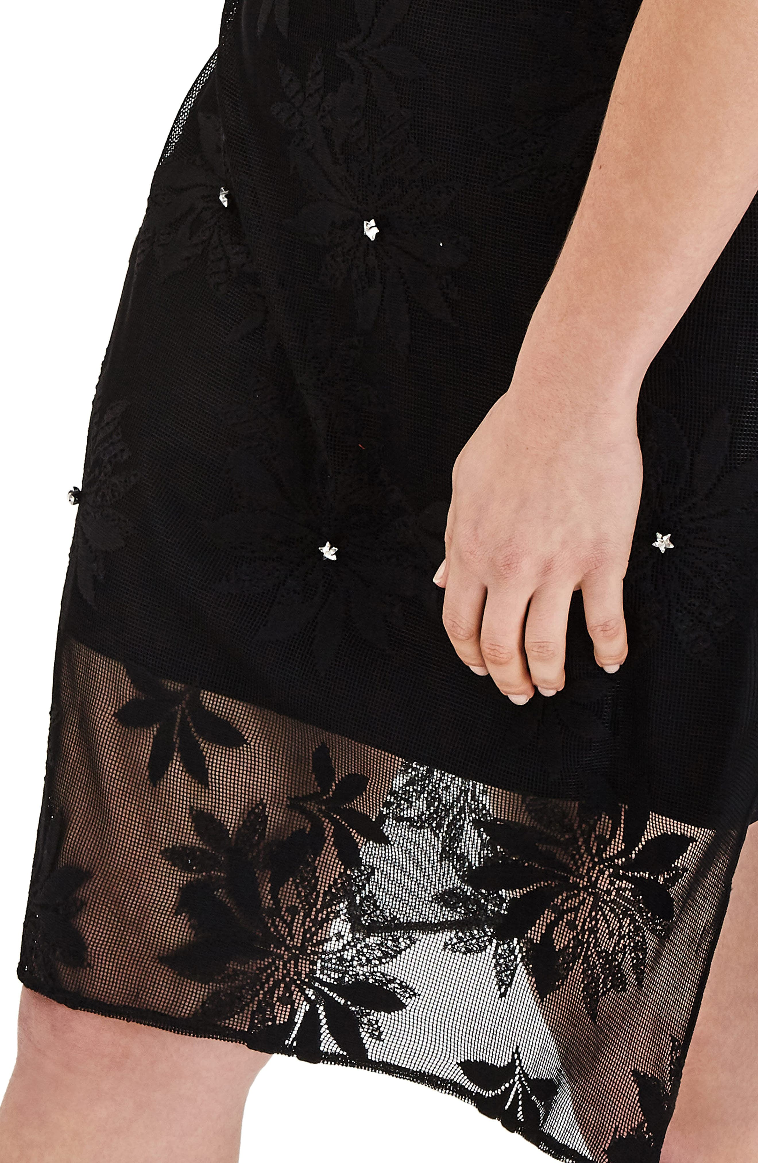 Alternate Image 4  - ELVI Floral Lace Tunic Dress (Plus Size)