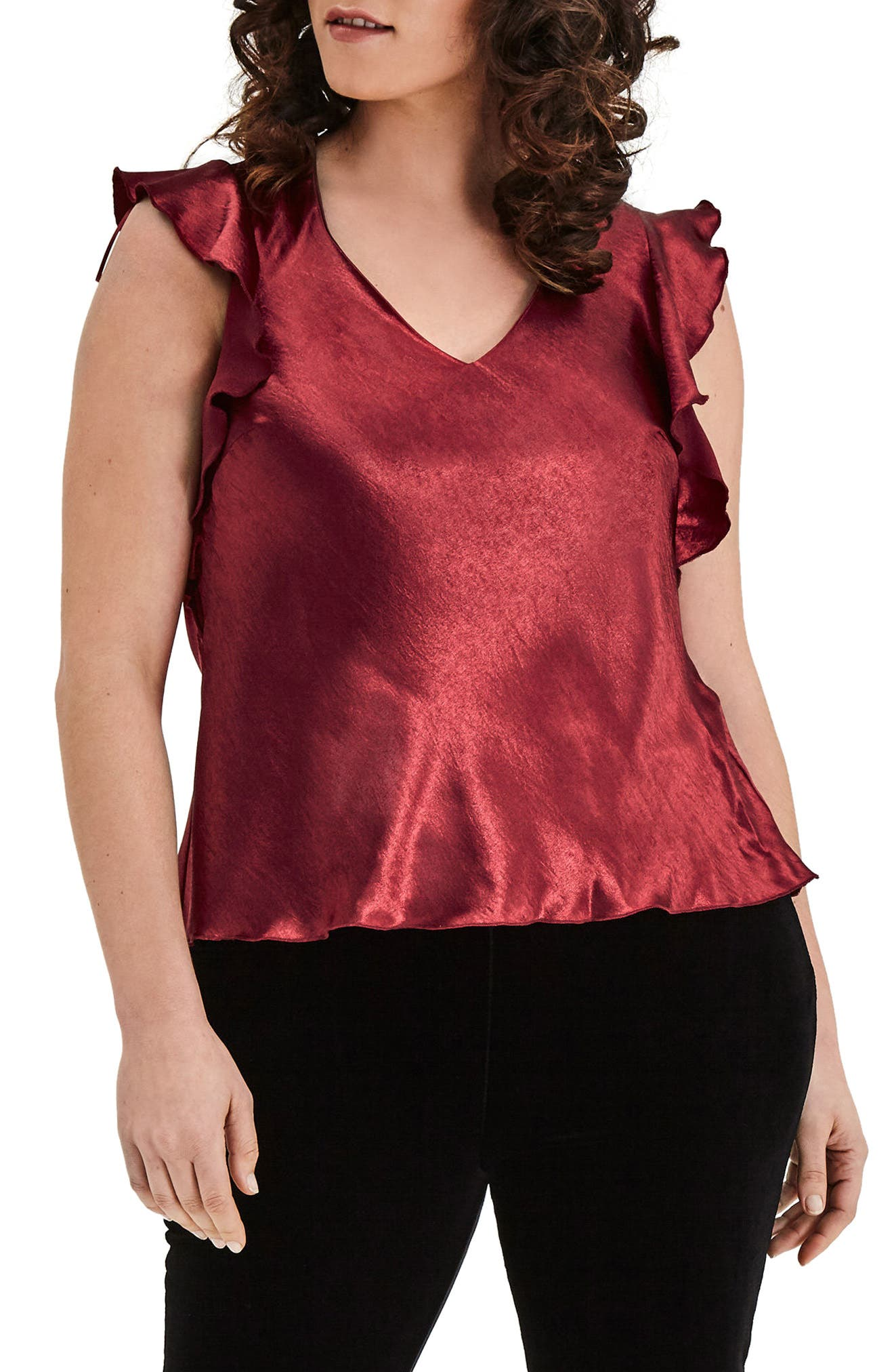 Wine Satin Top,                         Main,                         color, Red