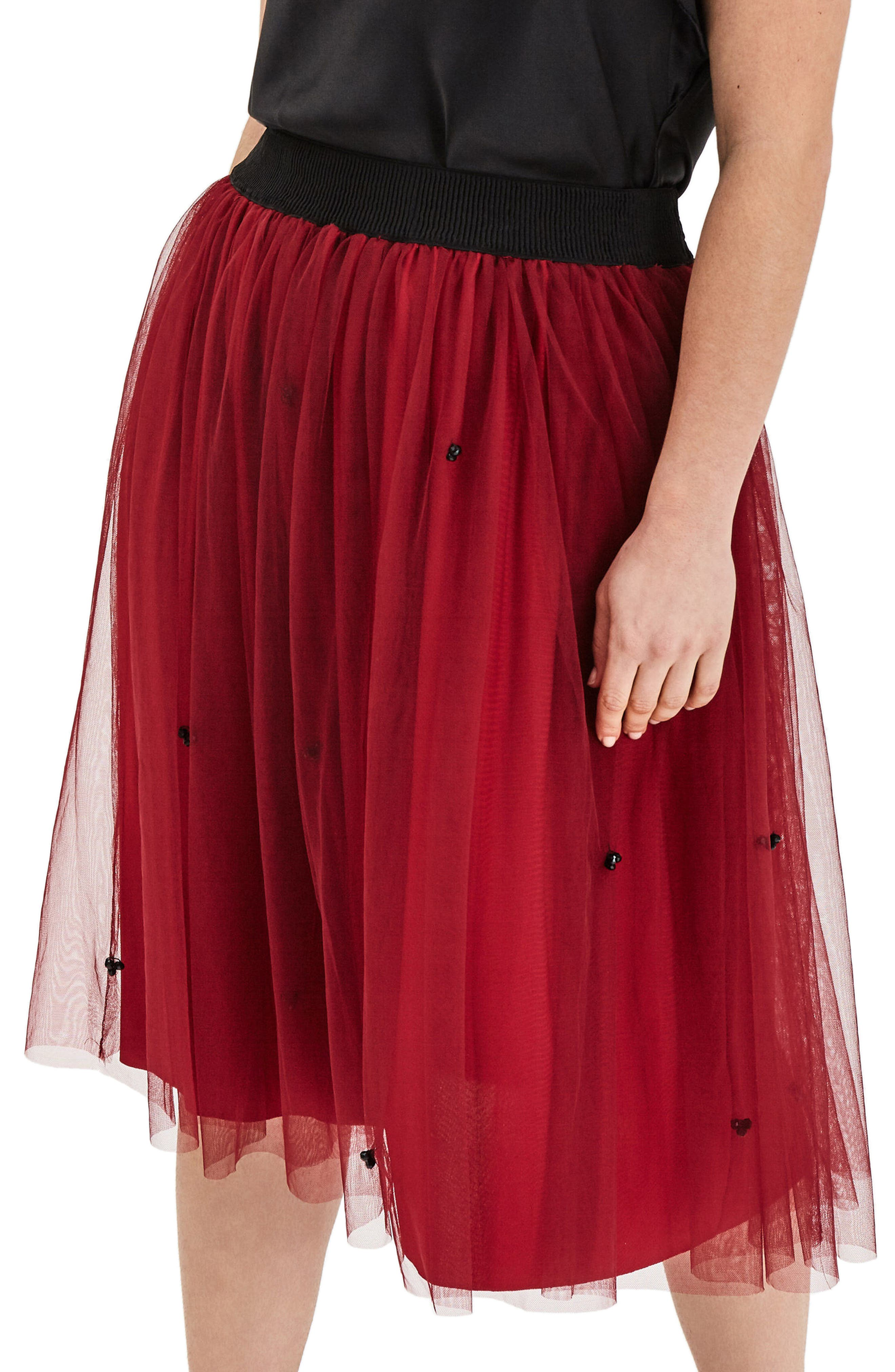 ELVI Red Tulle Beaded Skirt (Plus Size)