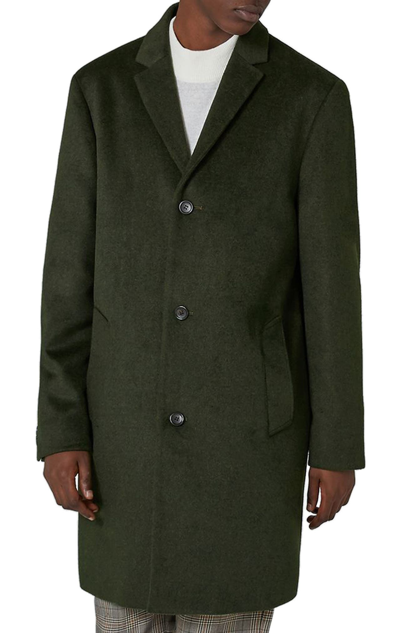 Main Image - Topman Khaki Overcoat