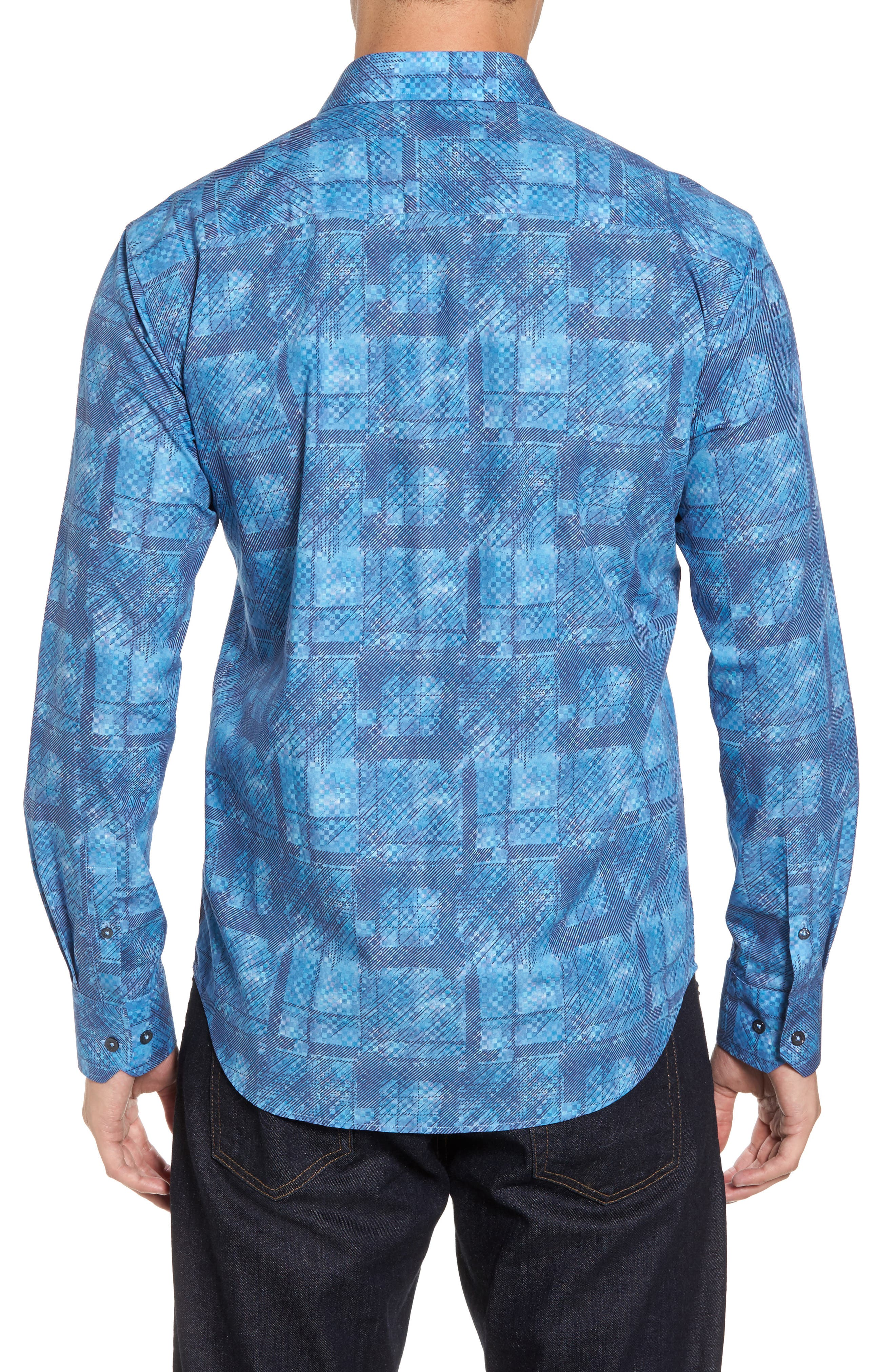 Shaped Fit Print Sport Shirt,                             Alternate thumbnail 2, color,                             Turquoise