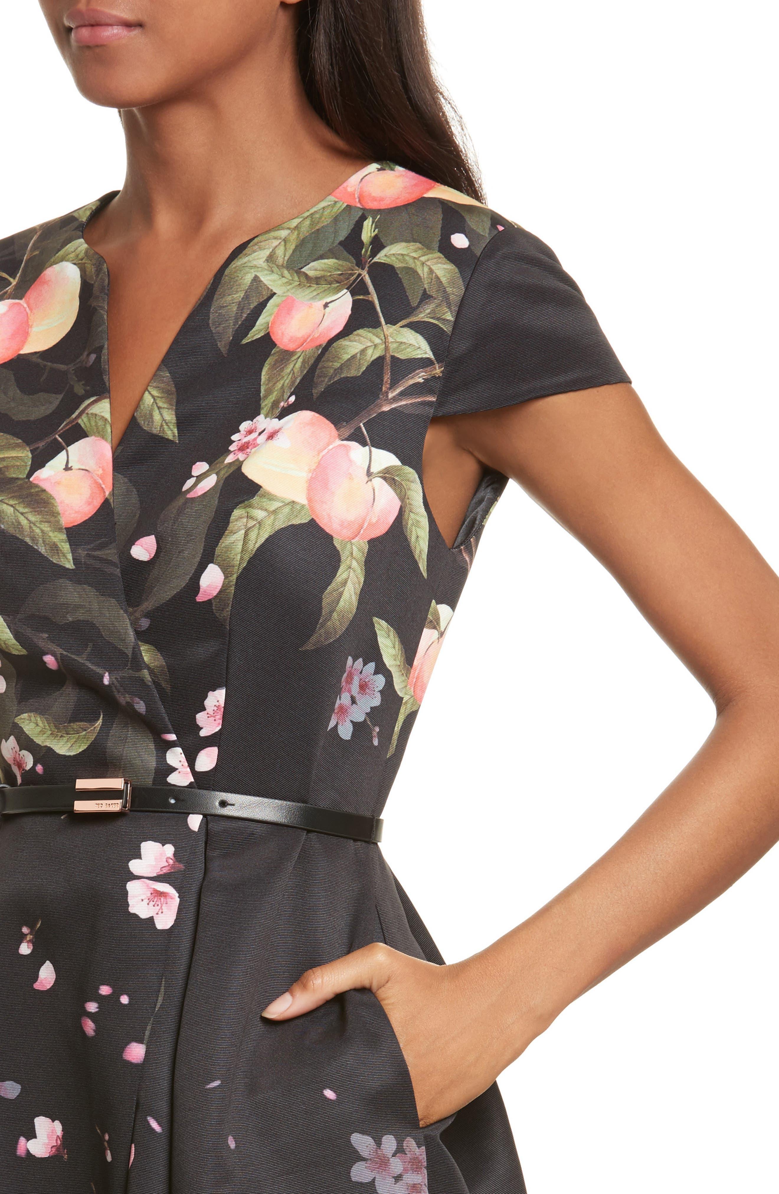 Peach Blossom Faux Wrap Midi Dress,                             Alternate thumbnail 4, color,                             Black