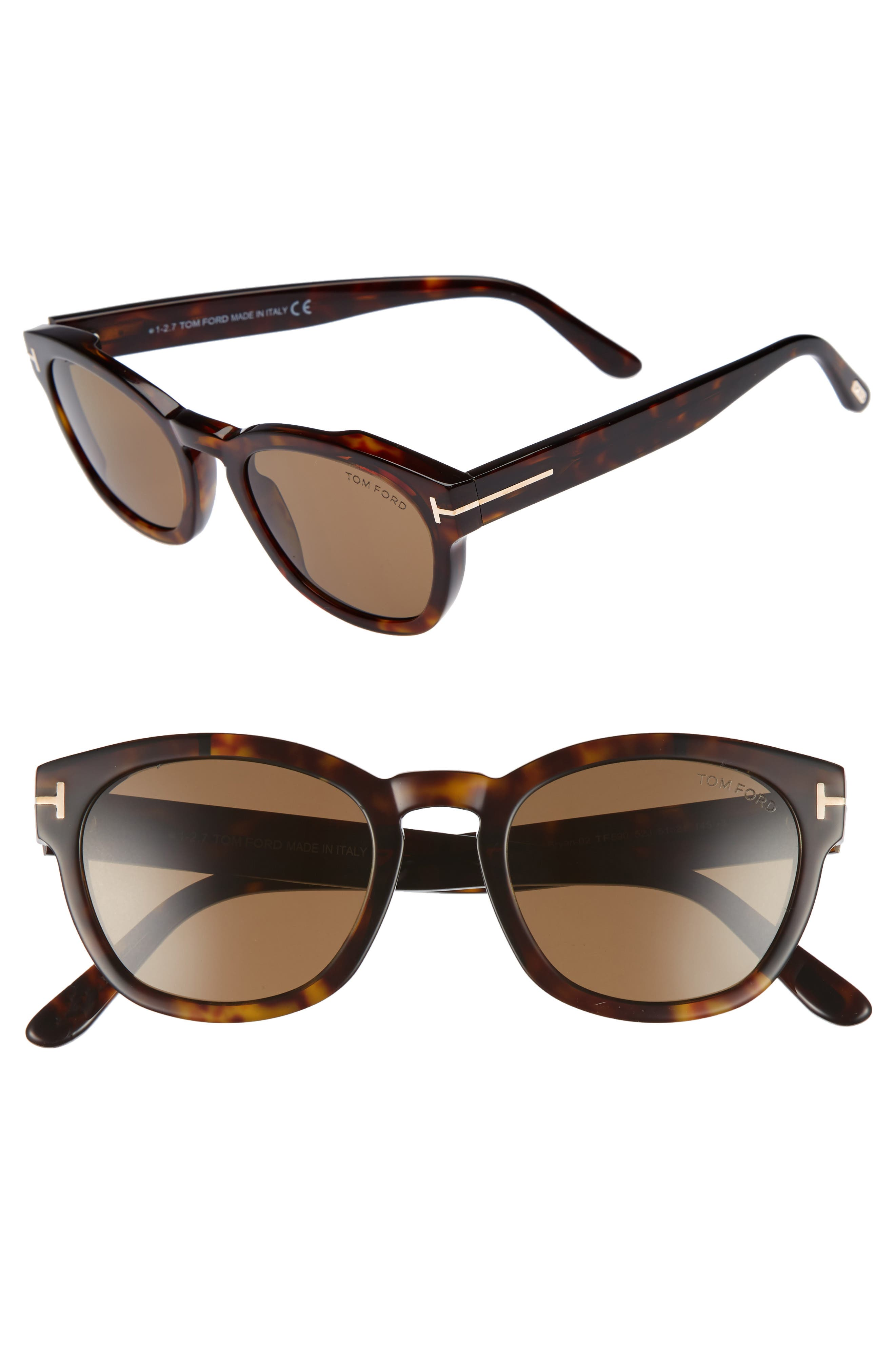 Bryan 51mm Sunglasses,                         Main,                         color, Dark Havana/ Roviex