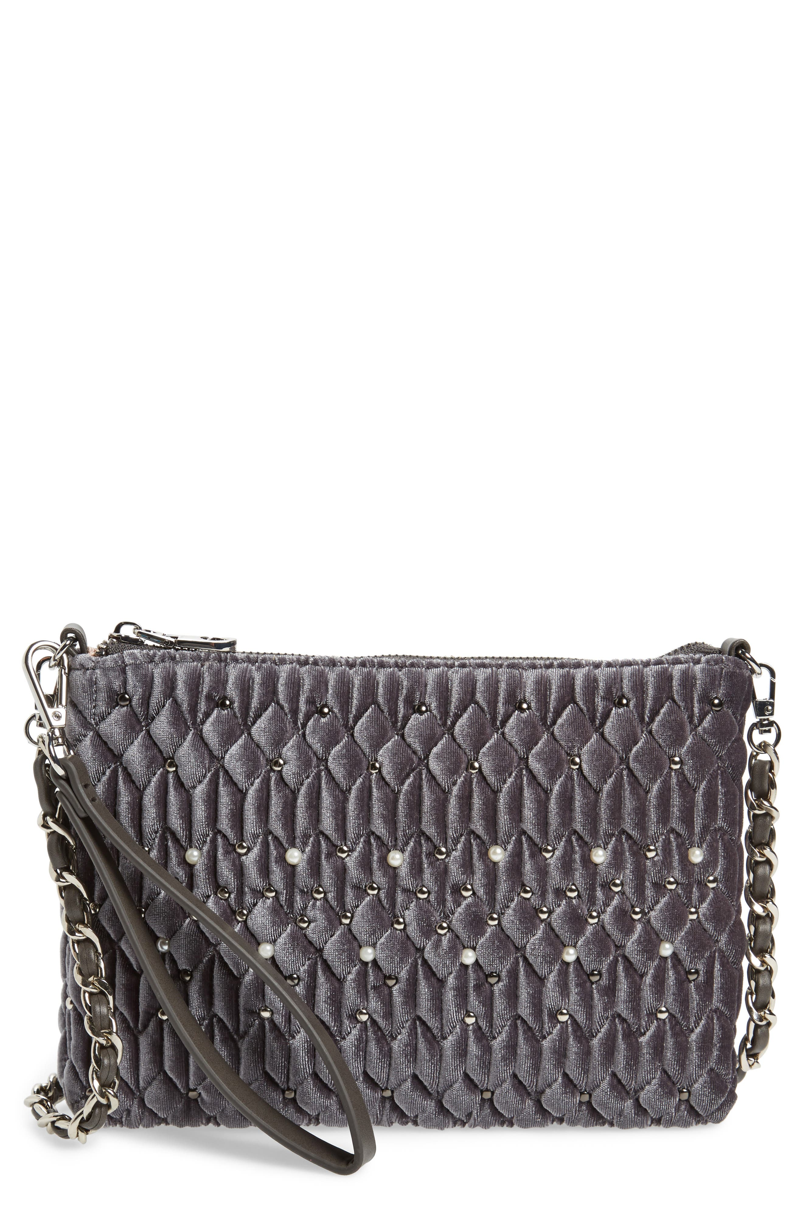 Chelsea28 Lily Quilted Velvet Clutch