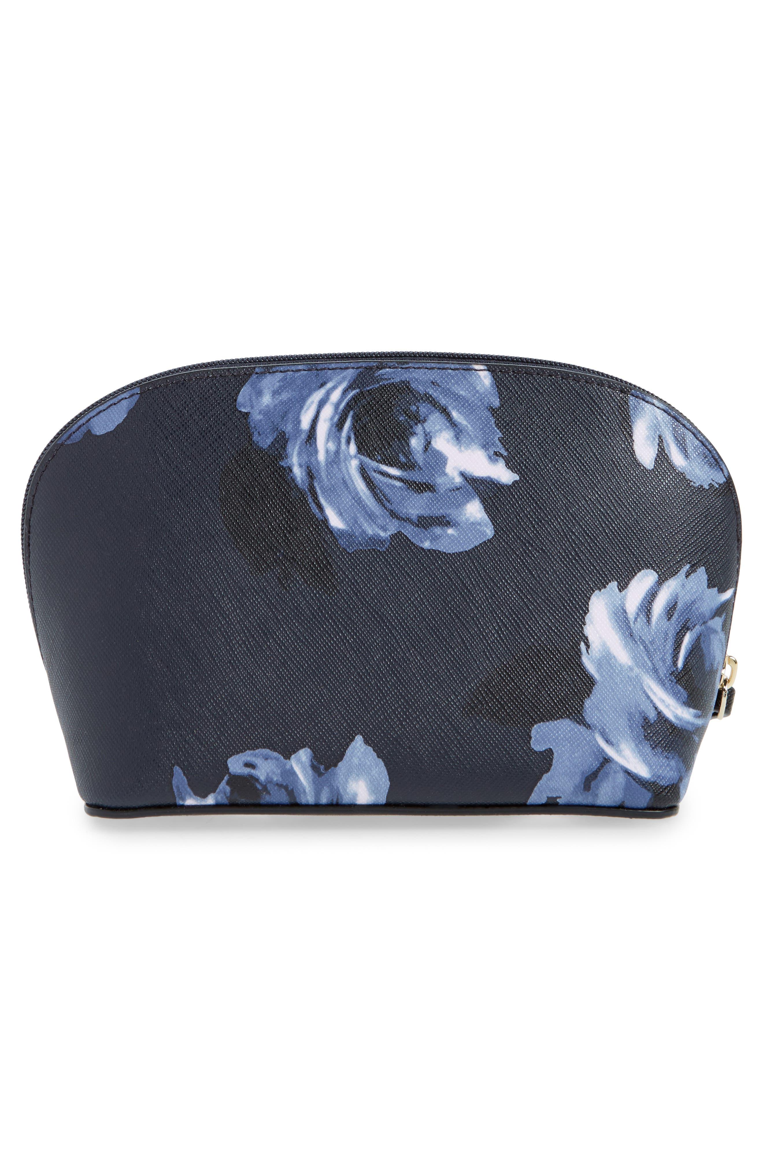 cameron street night rose - small abalene cosmetics bag,                             Alternate thumbnail 2, color,                             Rich Navy Multi