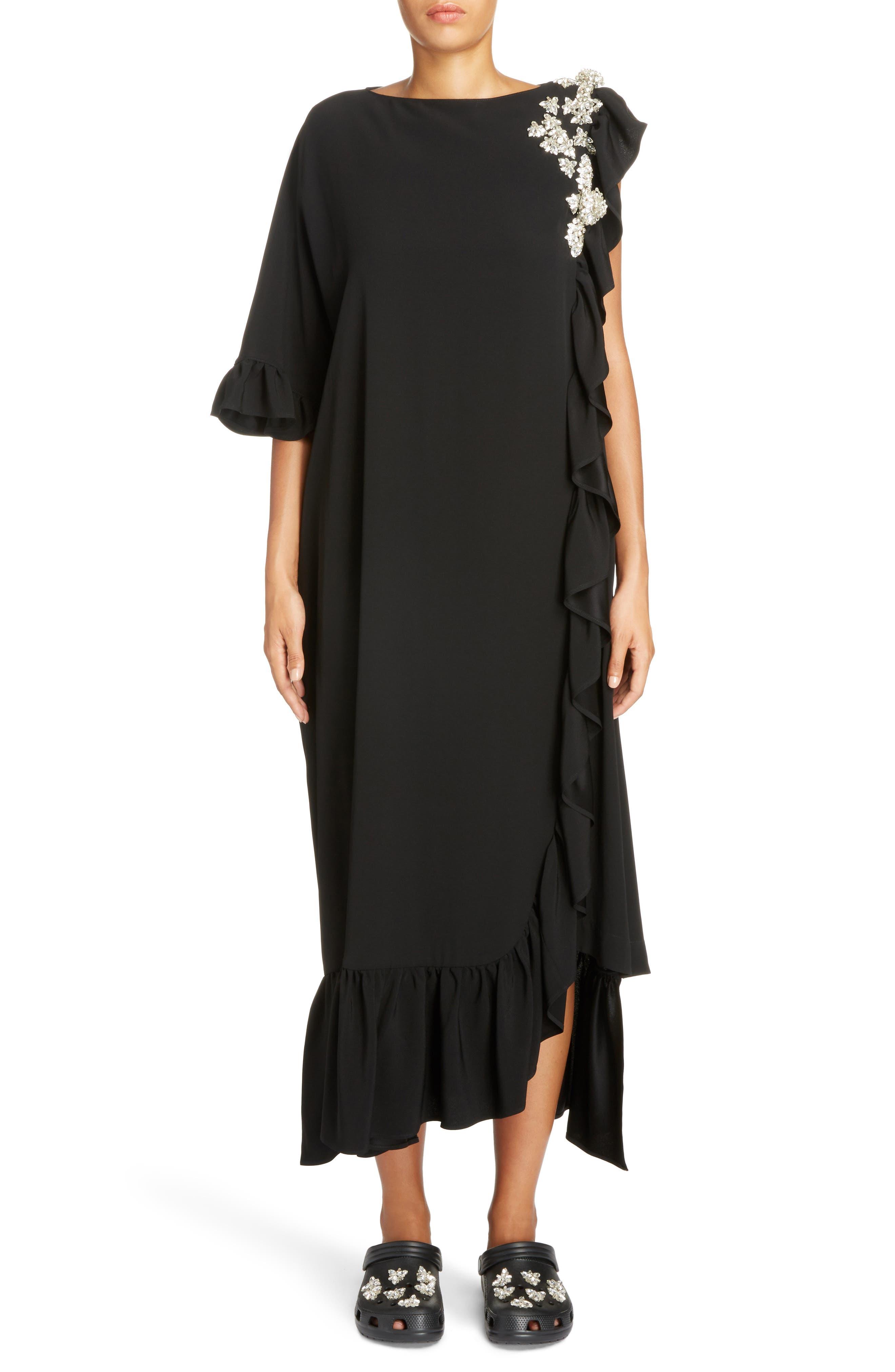 Crystal Embellished Frill Maxi Dress,                             Main thumbnail 1, color,                             Black